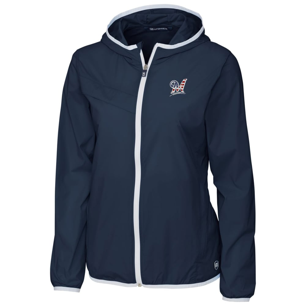 Milwaukee Brewers Cutter & Buck Women's Breaker Full-Zip Hooded Jacket - Navy