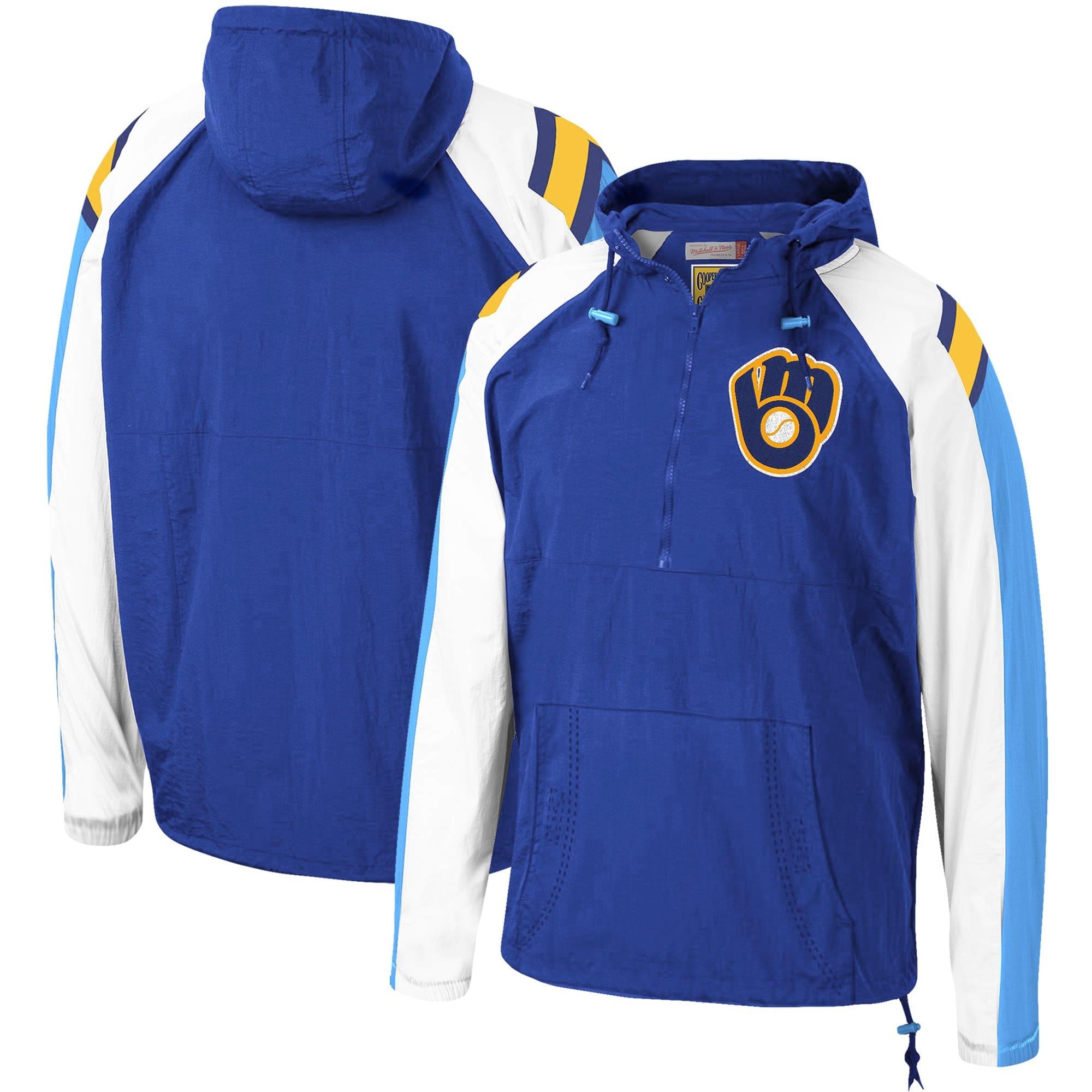 Milwaukee Brewers Mitchell & Ness Anorak Raglan Half-Zip Pullover Hoodie - Royal