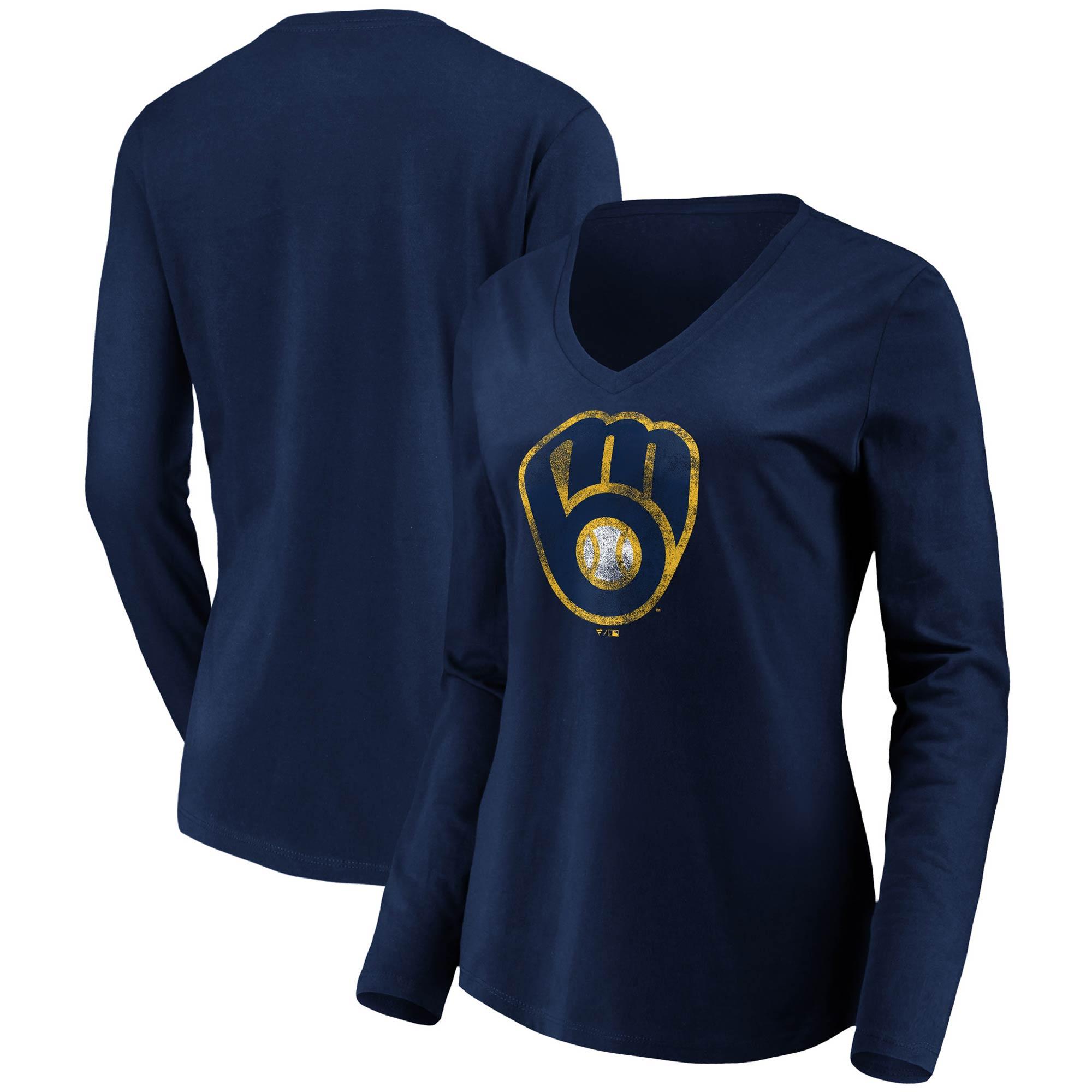 Milwaukee Brewers Fanatics Branded Women's Core Team Long Sleeve V-Neck T-Shirt - Navy