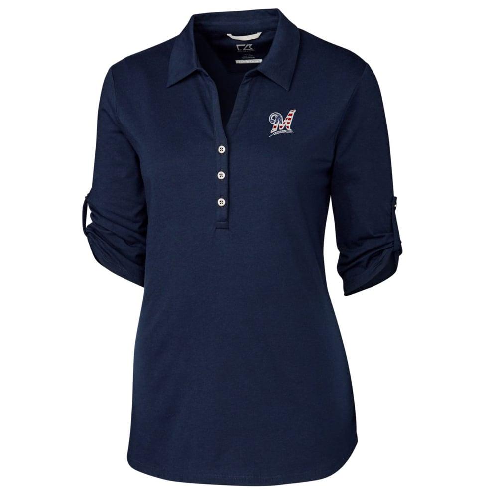 Milwaukee Brewers Cutter & Buck Women's Thrive 3/4 Sleeve Polo - Navy