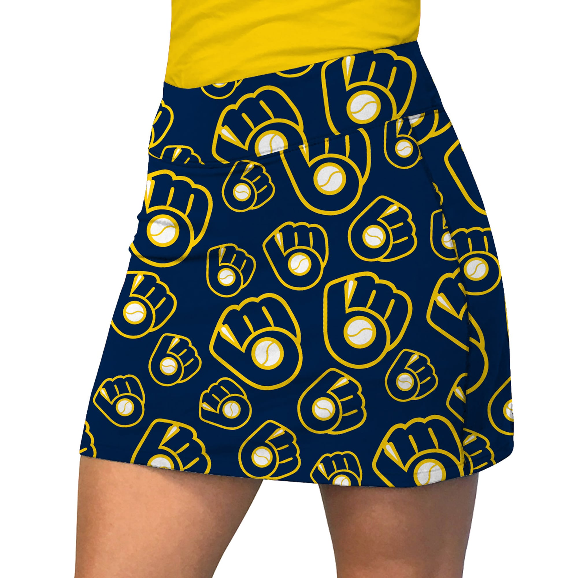 Milwaukee Brewers Loudmouth Women's Retro Cooperstown Active Skort - Blue/Yellow