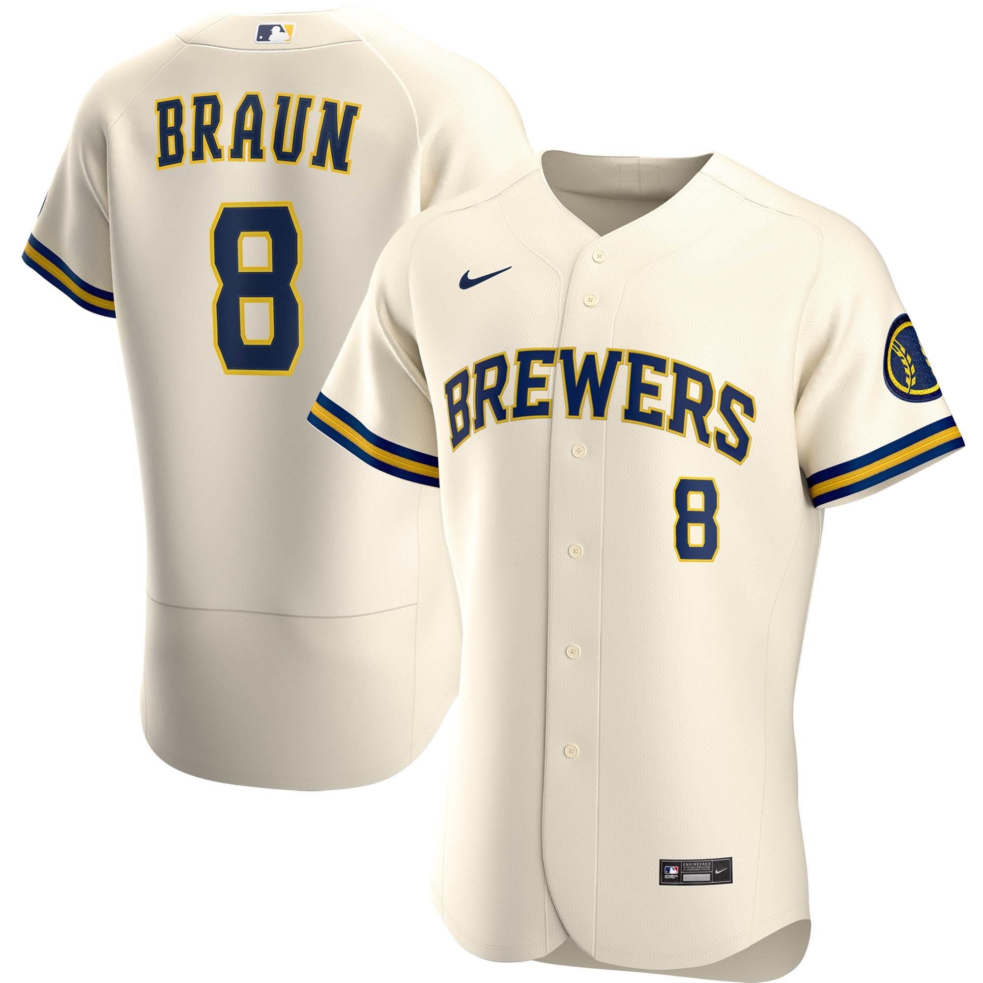 Ryan Braun Milwaukee Brewers Nike Home 2020 Authentic Player Jersey - Cream