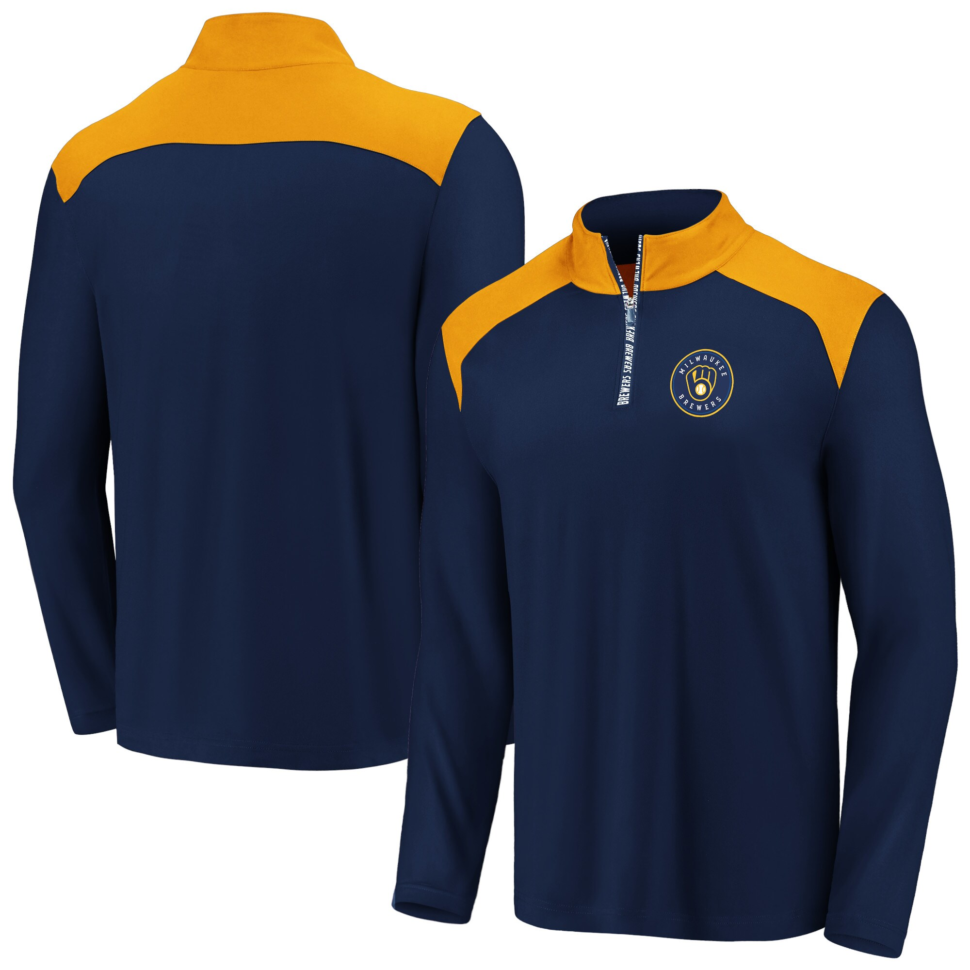 Milwaukee Brewers Fanatics Branded Iconic Clutch Quarter-Zip Pullover Jacket - Navy/Gold