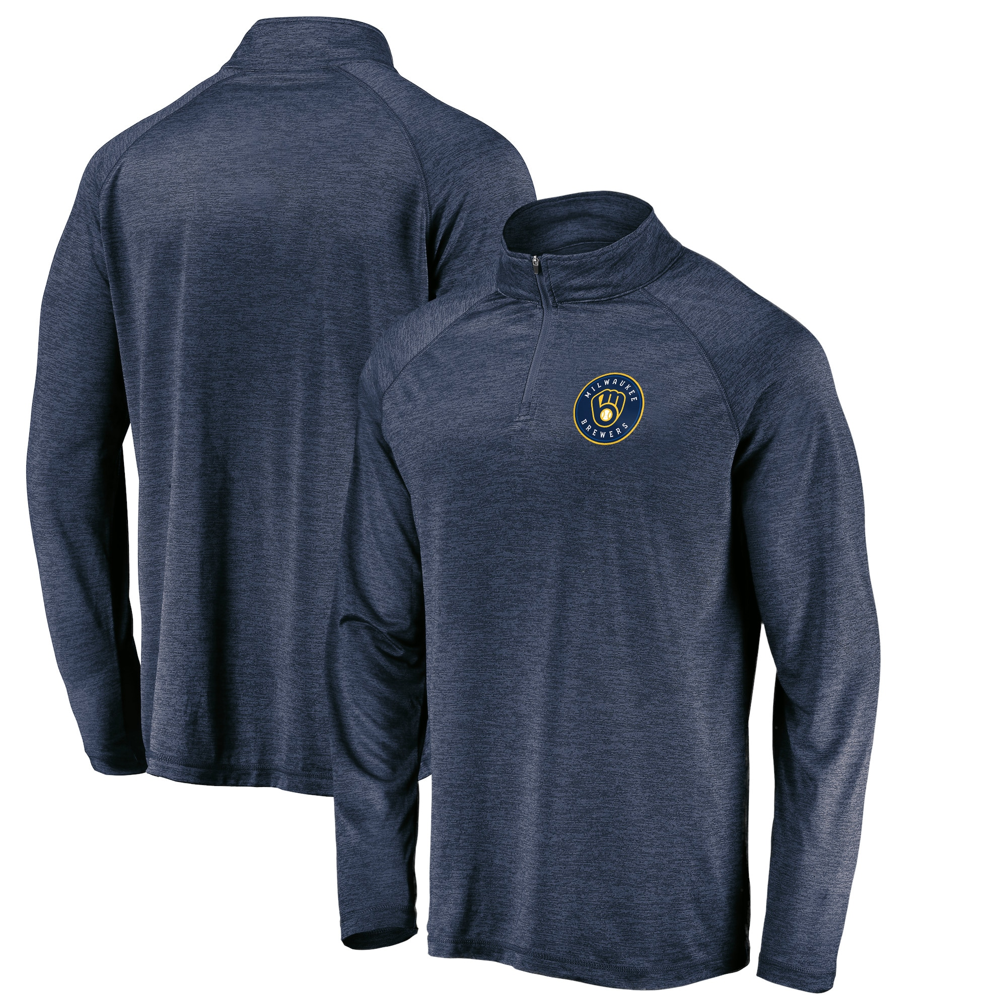 Milwaukee Brewers Fanatics Branded Iconic Striated Primary Logo Raglan Quarter-Zip Pullover Jacket - Navy