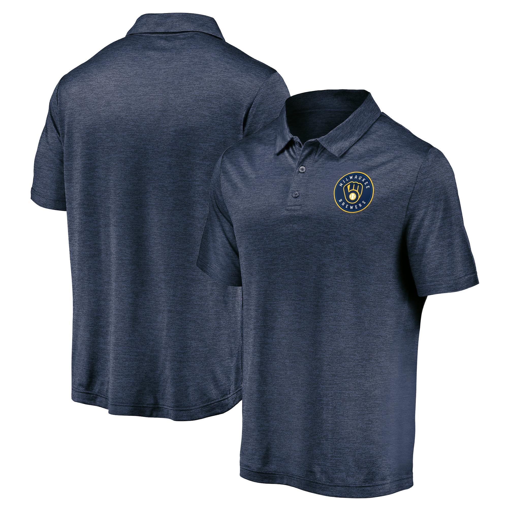 Milwaukee Brewers Fanatics Branded Iconic Striated Primary Logo Polo - Navy