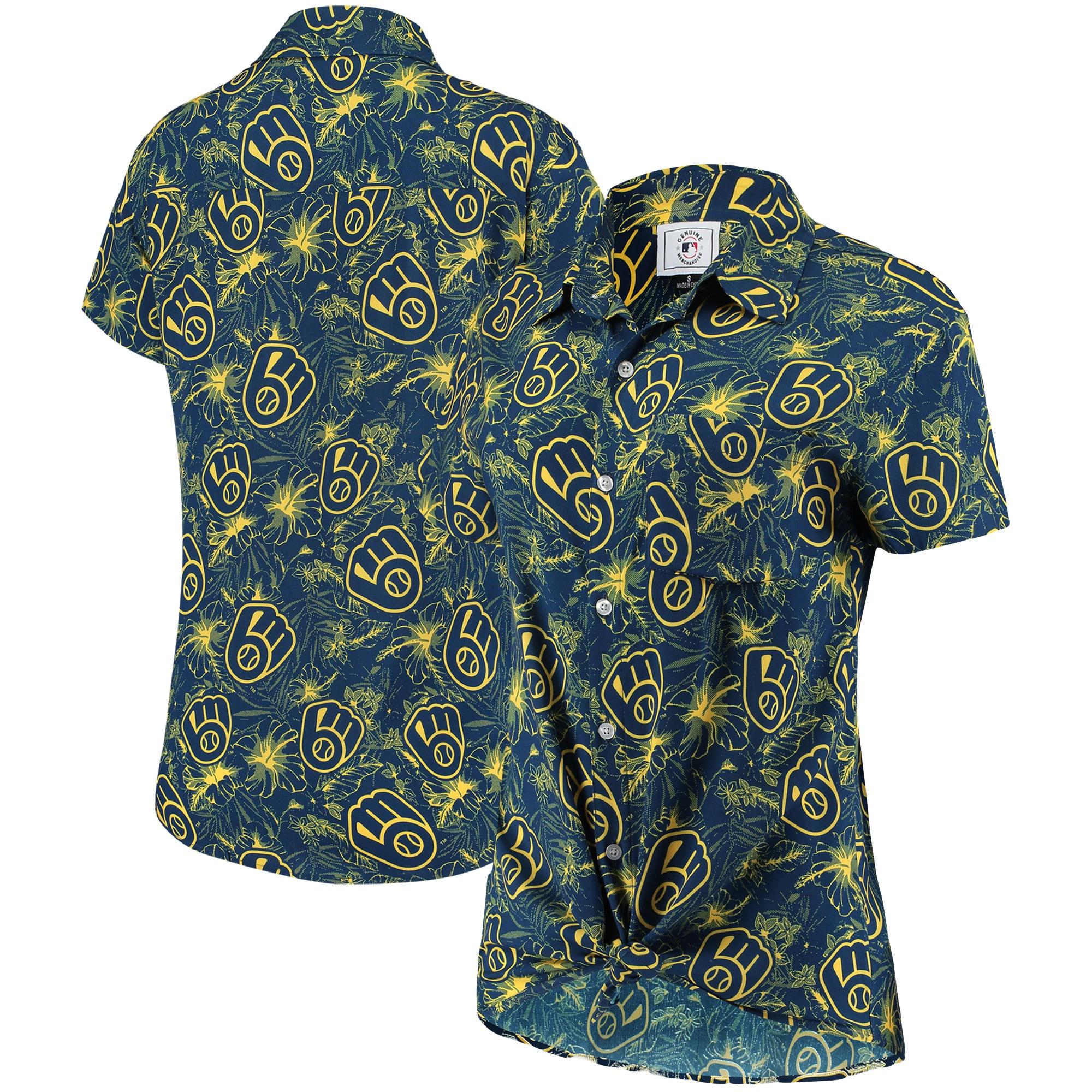 Milwaukee Brewers Women's Tonal Print Button-Up Shirt - Navy/Gold