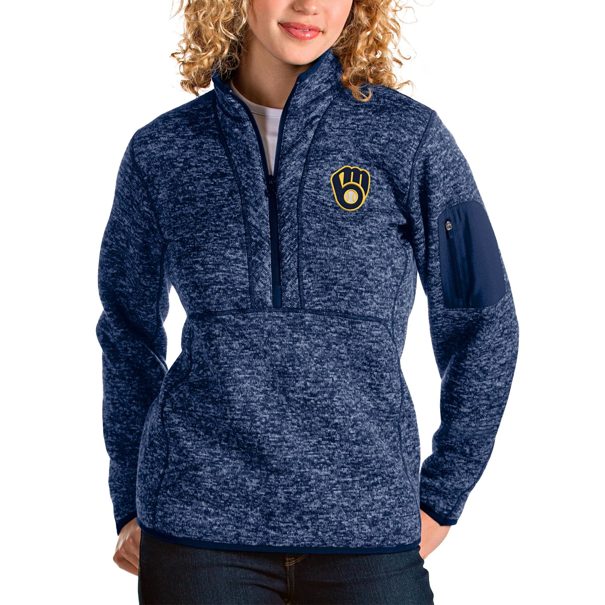 Milwaukee Brewers Antigua Women's Fortune Half-Zip Pullover Jacket - Heather Navy