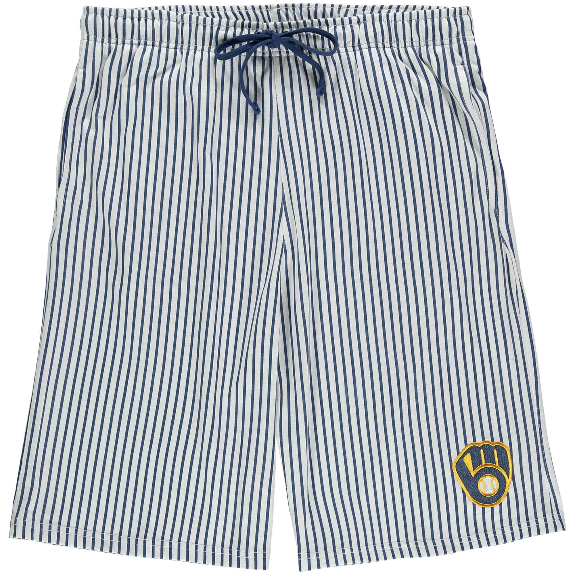 Milwaukee Brewers Big & Tall Pinstripe Shorts - White/Royal