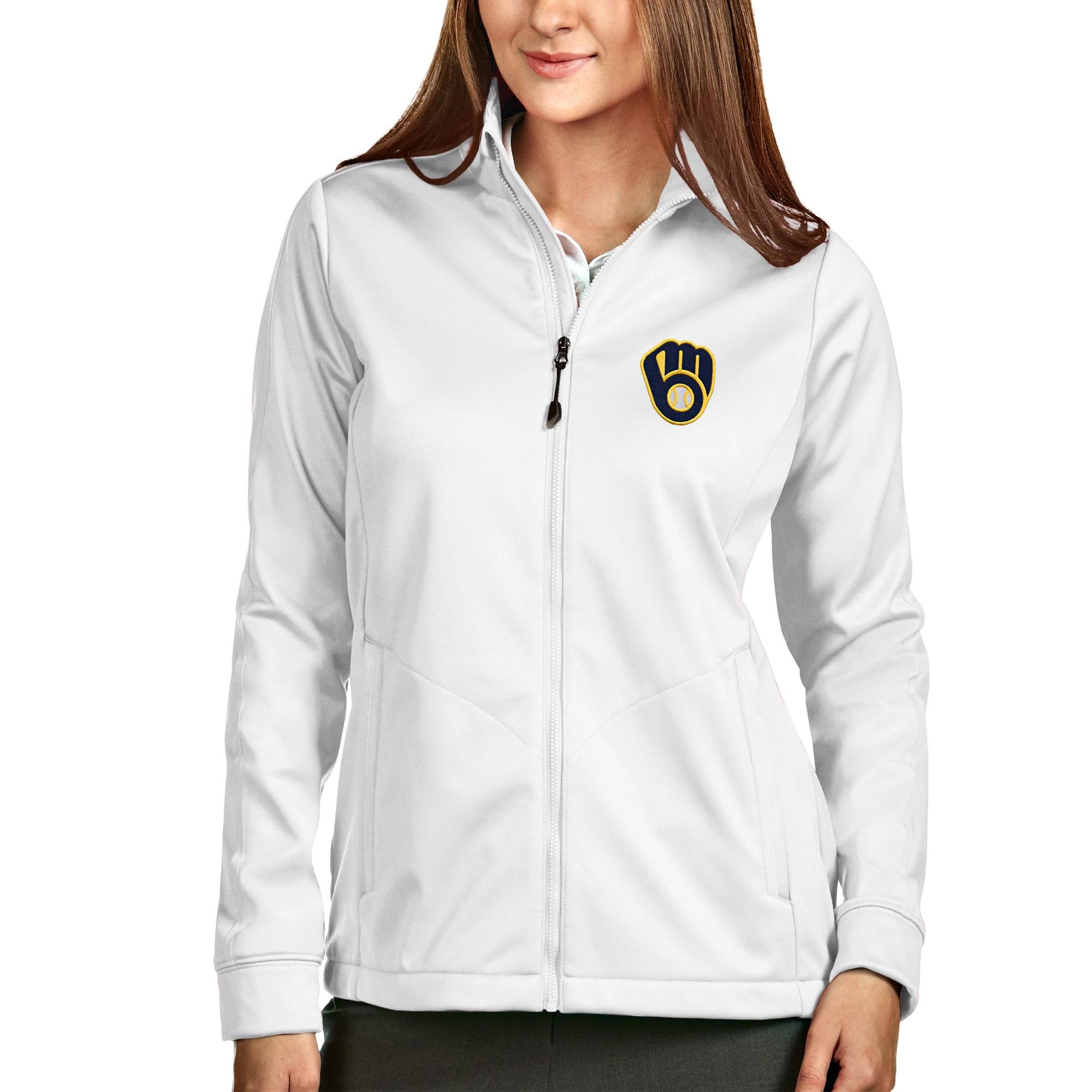Milwaukee Brewers Antigua Women's Full-Zip Golf Jacket - White