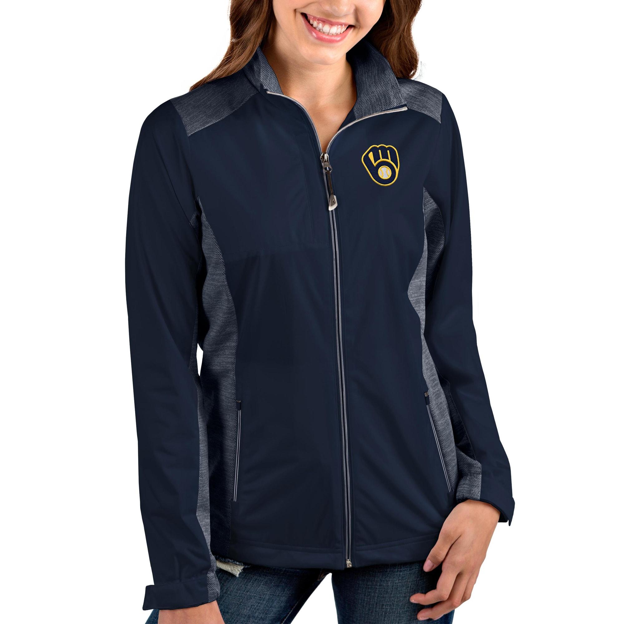 Milwaukee Brewers Antigua Women's Passage Full-Zip Jacket - Navy/White
