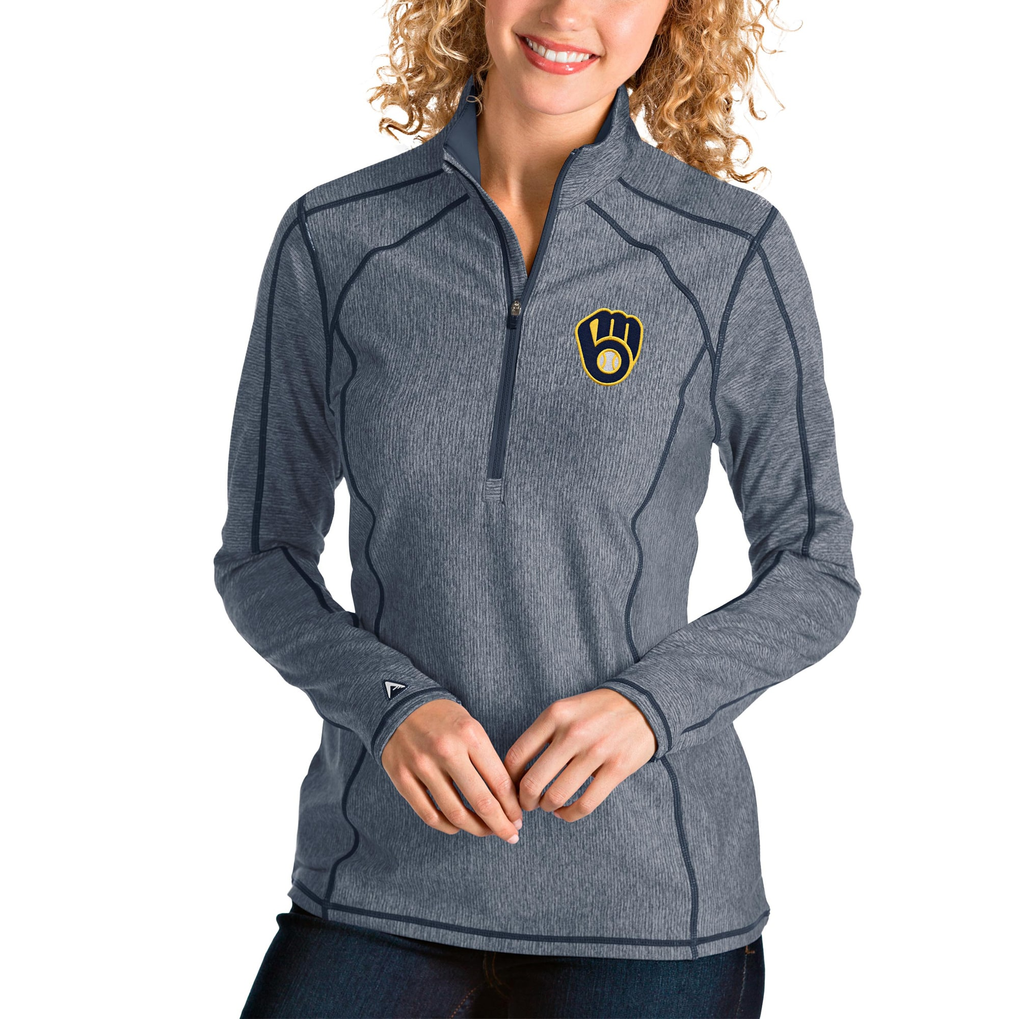 Milwaukee Brewers Antigua Women's Tempo Quarter-Zip Pullover Jacket - Heather Navy
