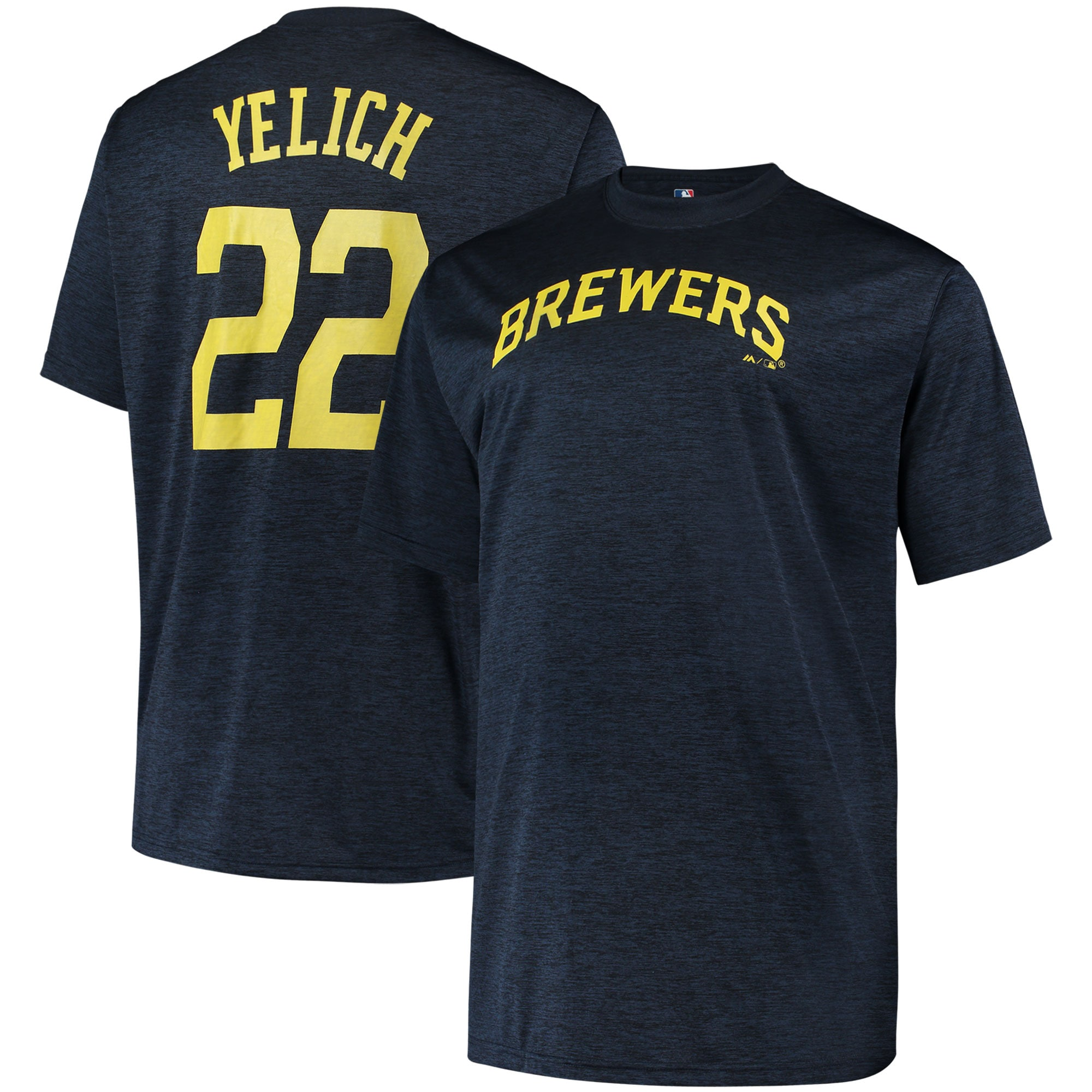 Christian Yelich Milwaukee Brewers Big & Tall Name & Number T-Shirt - Heathered Navy