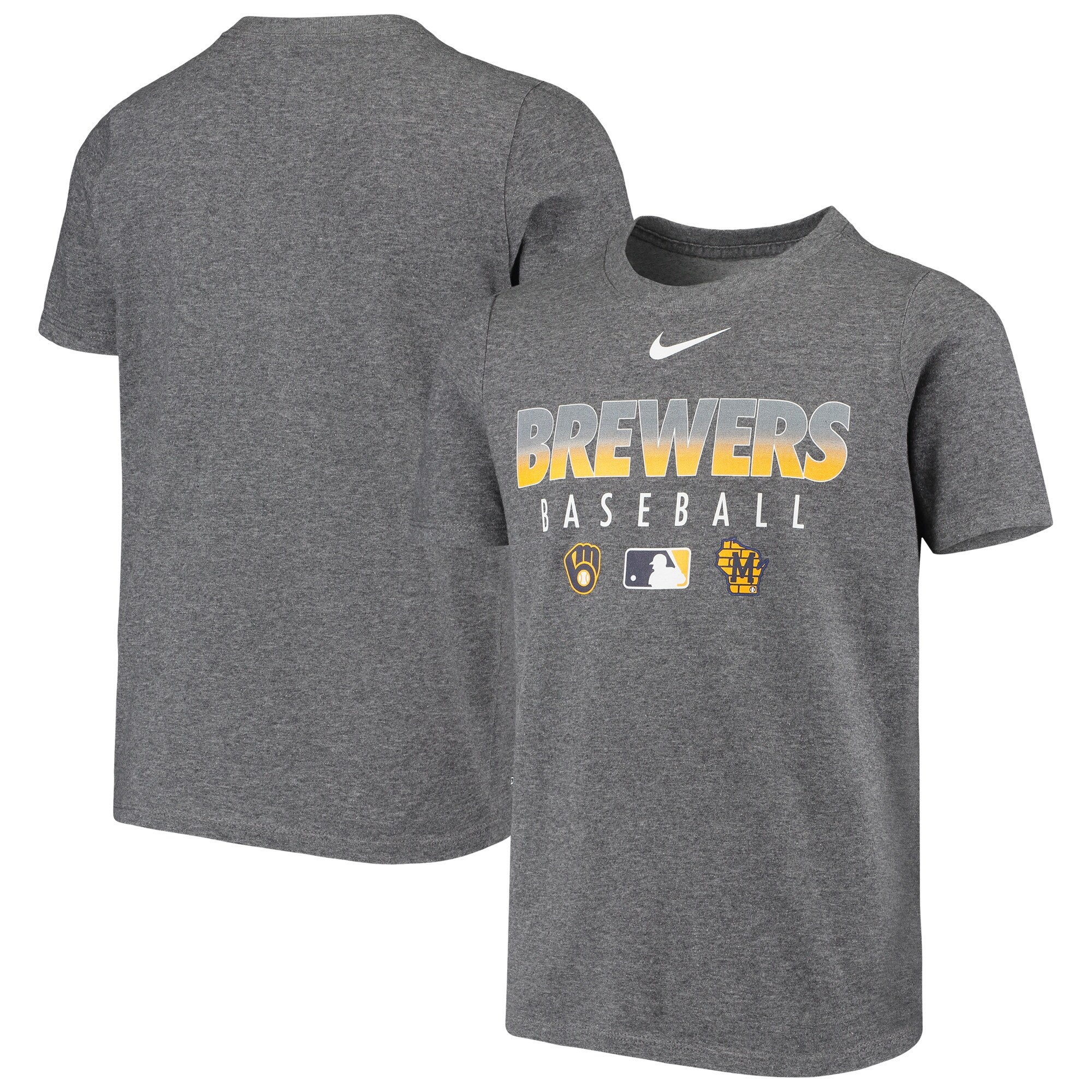 Milwaukee Brewers Nike Youth Early Work Performance T-Shirt - Heathered Charcoal