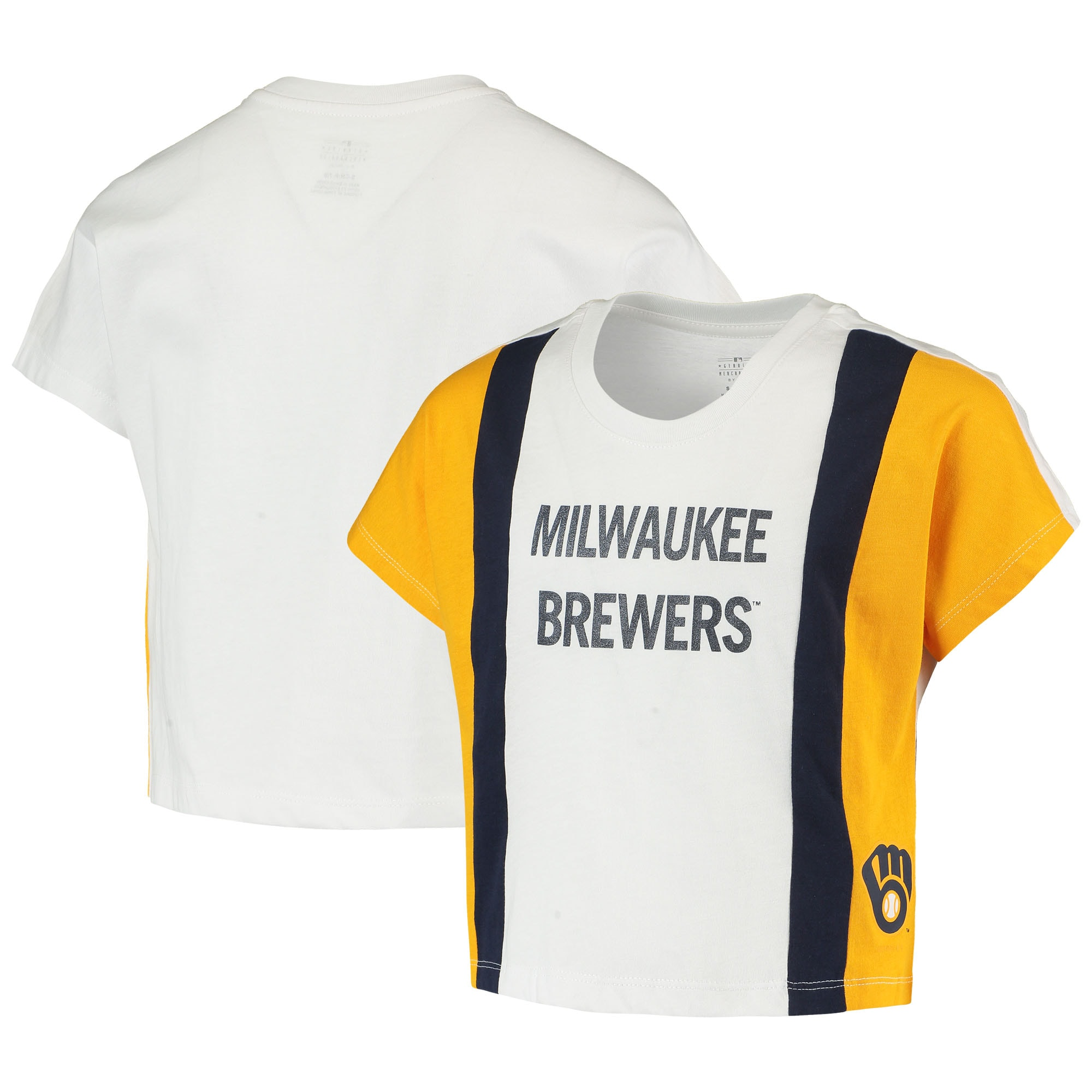 Milwaukee Brewers Girls Youth As If Cropped Boxy T-Shirt - White/Gold