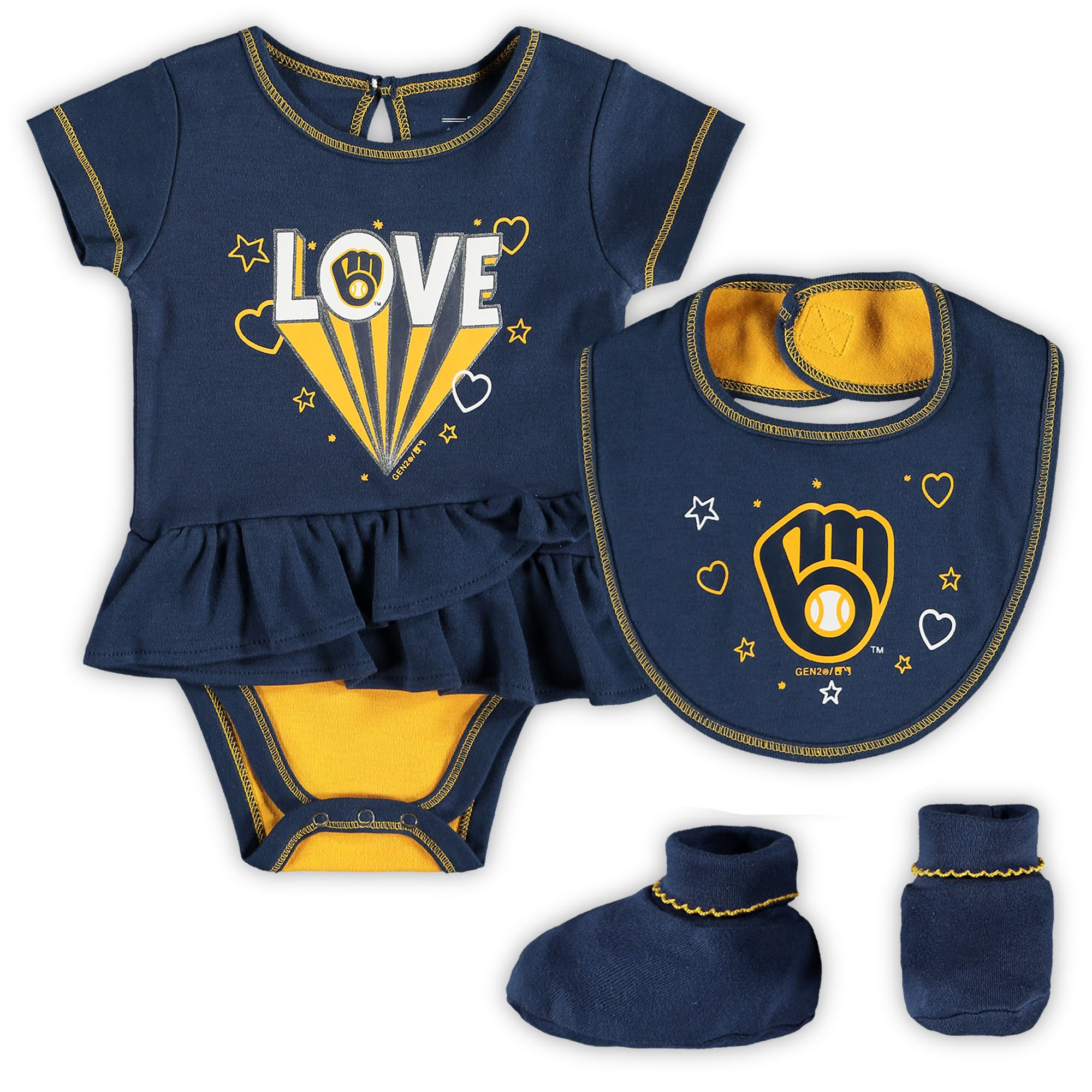 Milwaukee Brewers Girls Newborn & Infant Play Your Best Bodysuit, Bib & Booties Set - Navy