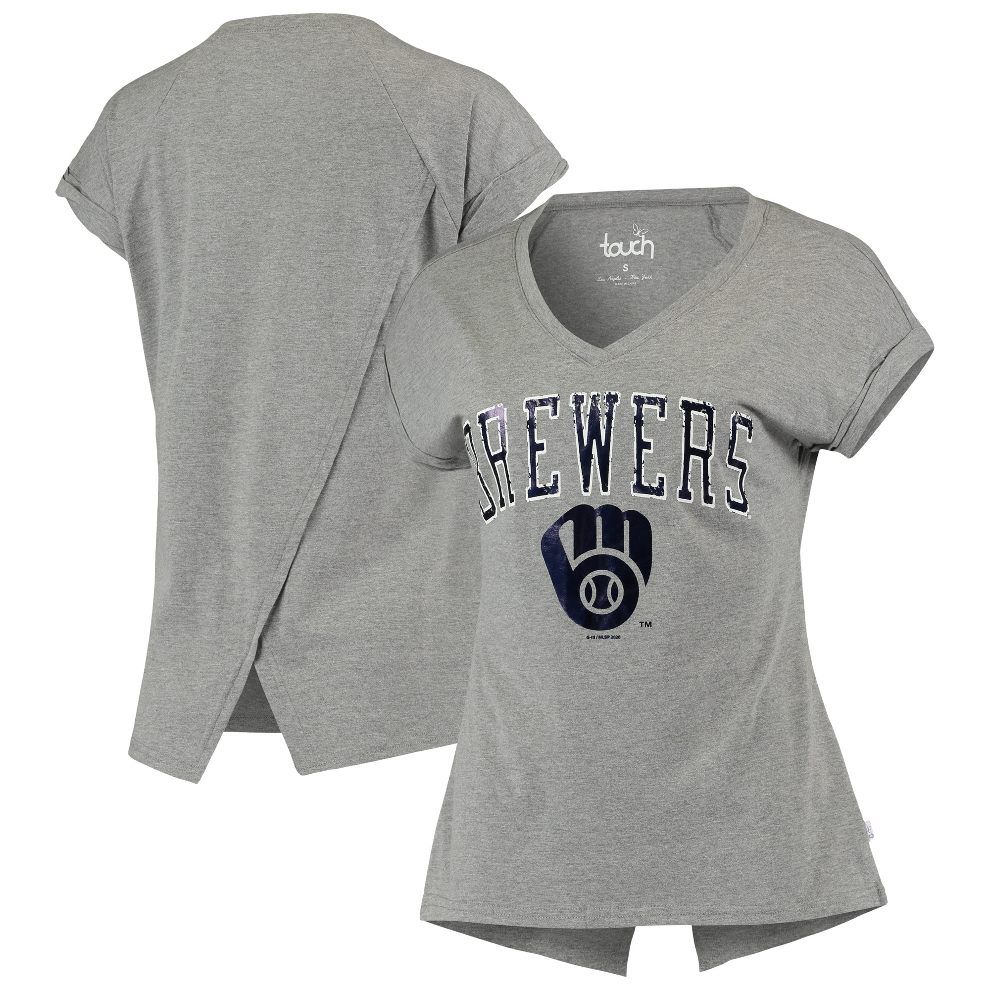 Milwaukee Brewers Touch Women's Power Play V-Neck T-Shirt - Gray