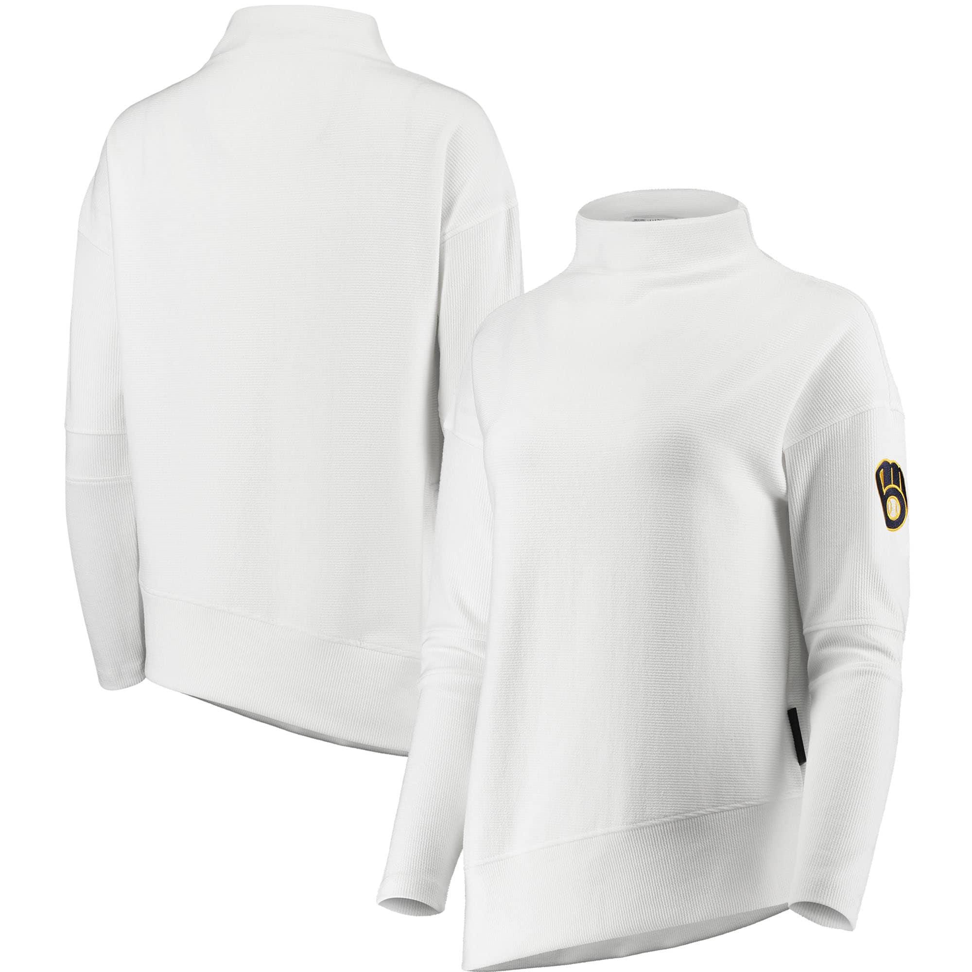 Milwaukee Brewers Levelwear Women's Lana Mock Neck Pullover Sweatshirt - White