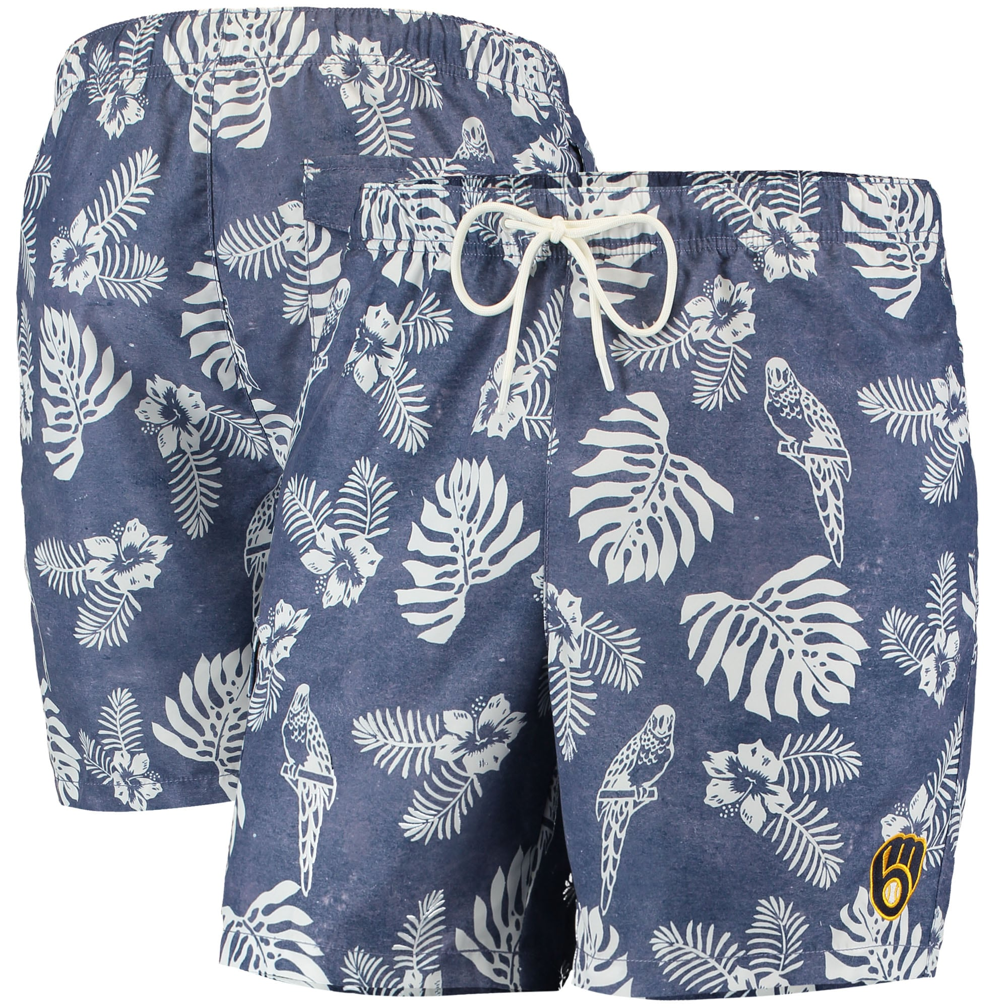 Milwaukee Brewers Tommy Bahama Naples Parrot in Paradise Swim Shorts - Navy
