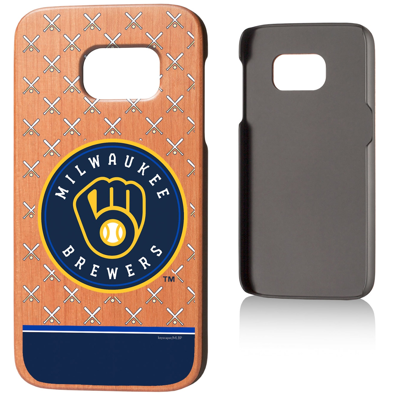Milwaukee Brewers Galaxy S7 Stripe Cherry Wood Case