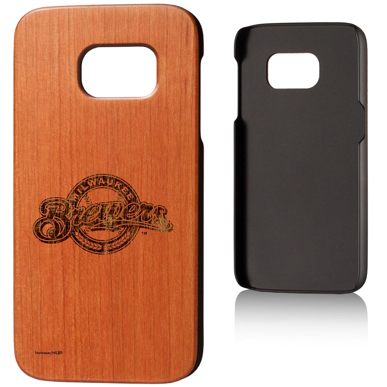 Milwaukee Brewers Galaxy S7 Branded Logo Cherry Wood Case