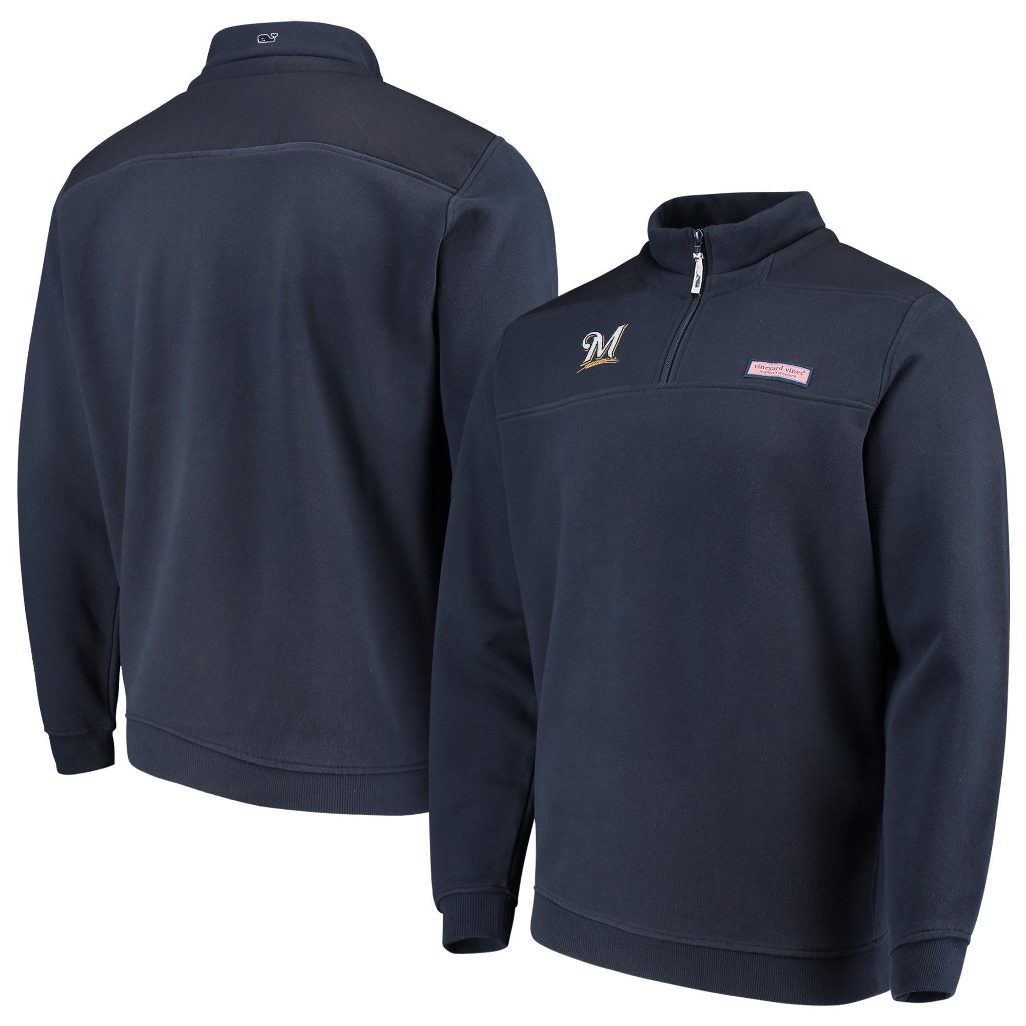 Milwaukee Brewers Vineyard Vines Shep Shirt Quarter-Zip Pullover Jacket - Navy