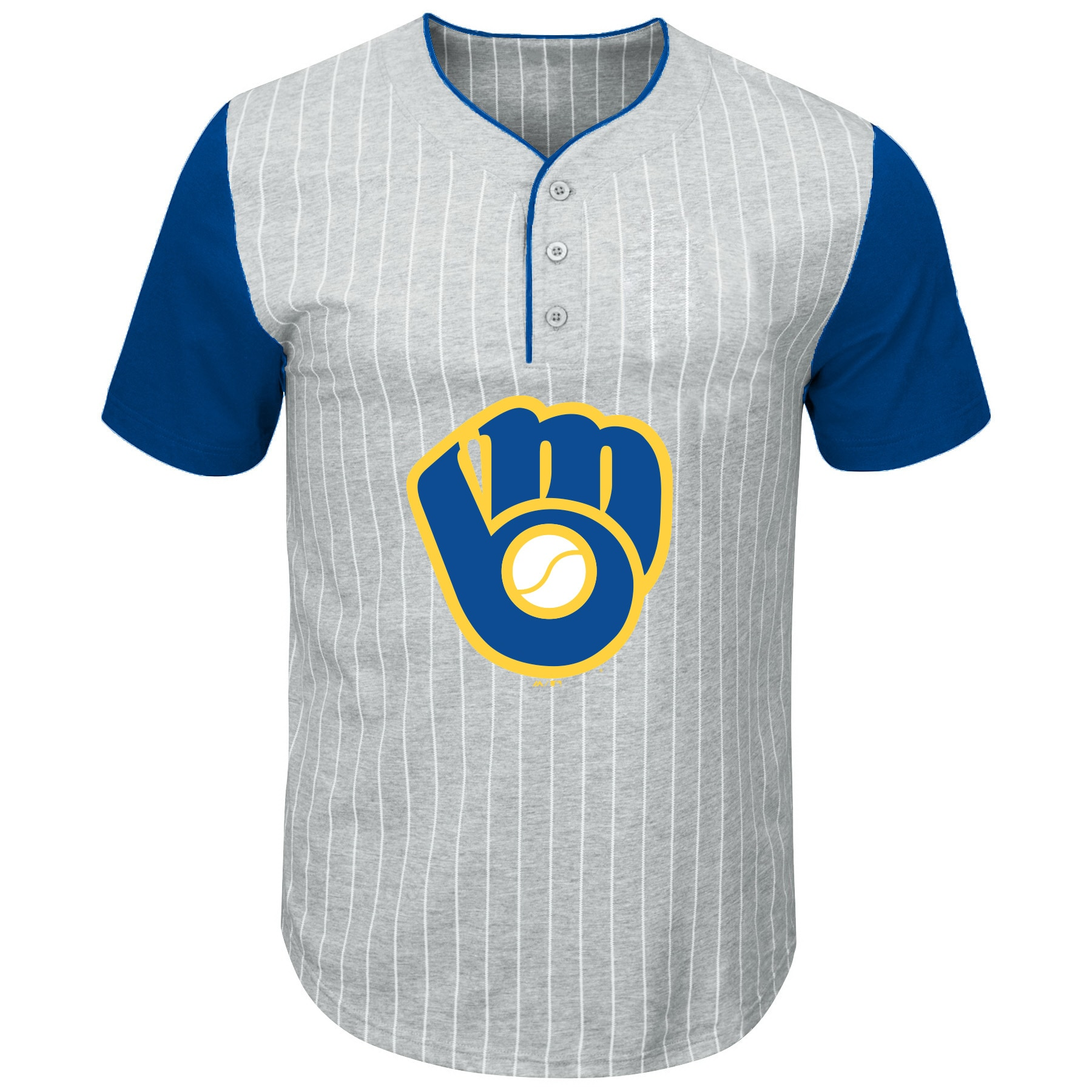 Milwaukee Brewers Majestic Big & Tall Cooperstown Collection Pinstripe Henley Raglan T-Shirt - Gray/Royal