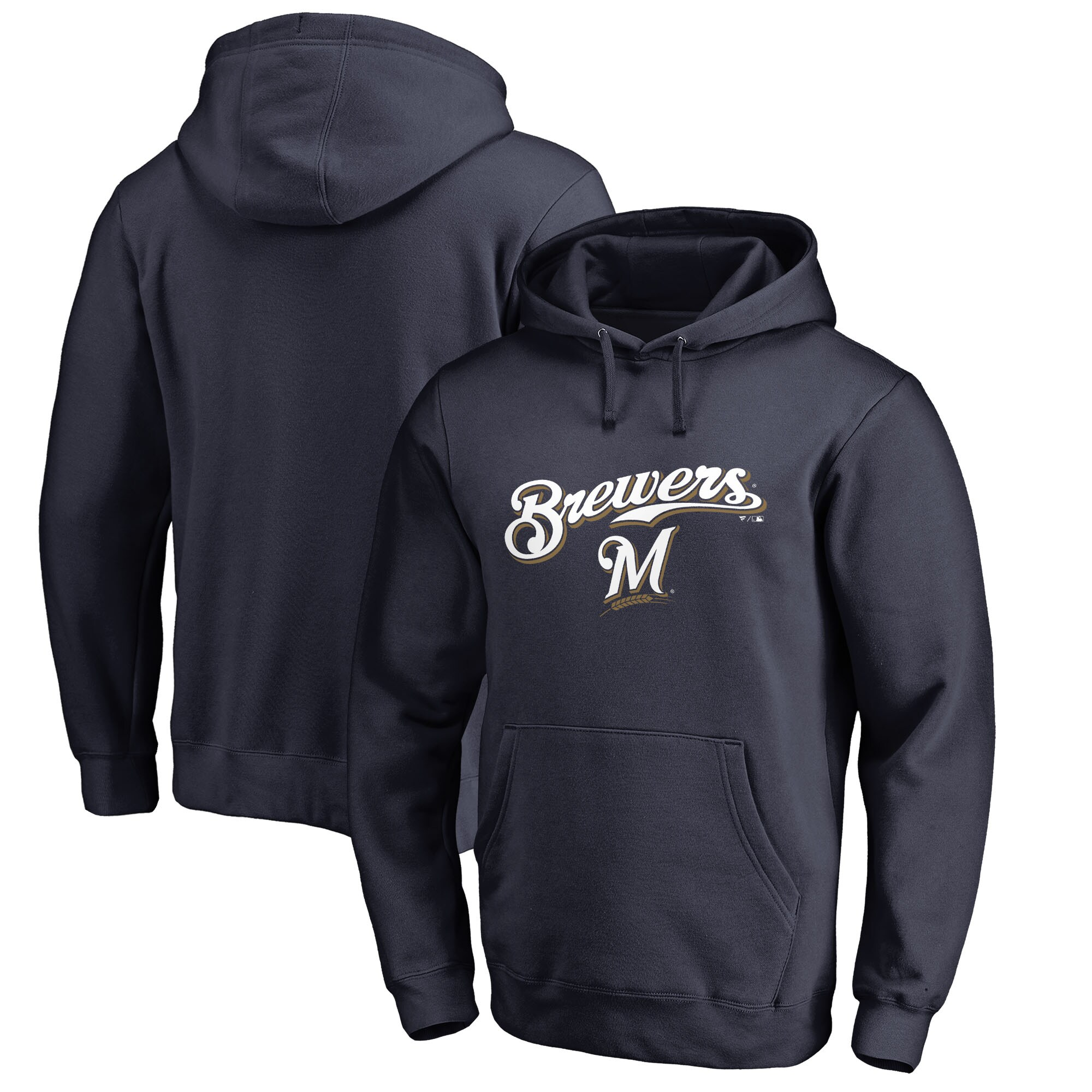 Milwaukee Brewers Fanatics Branded Team Lockup Pullover Hoodie - Navy