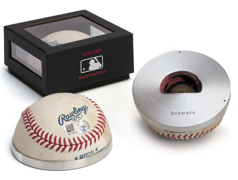 Milwaukee Brewers Tokens & Icons Game Used MLB Half Baseball Bottle Opener