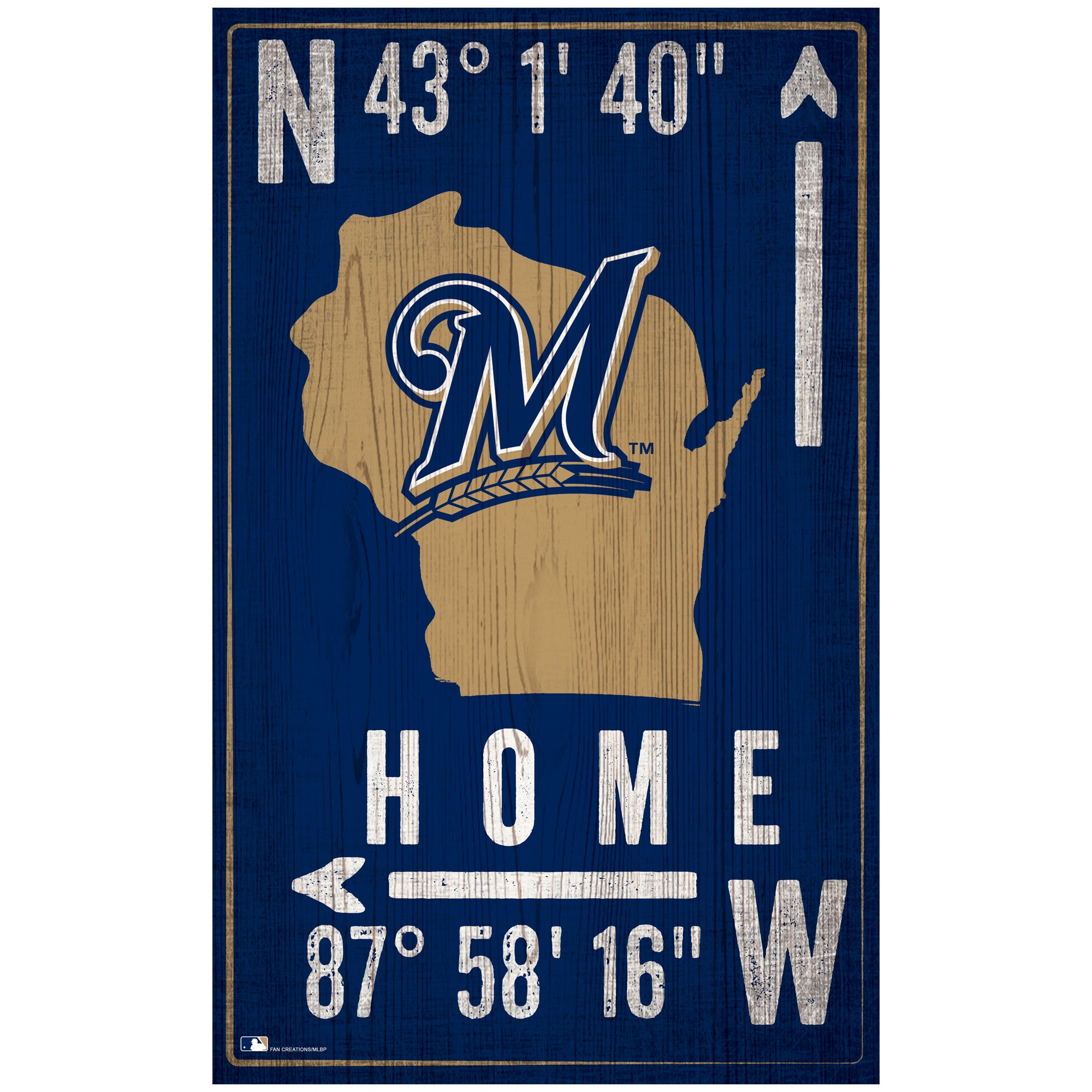 "Milwaukee Brewers 11"" x 19"" Coordinate Sign"
