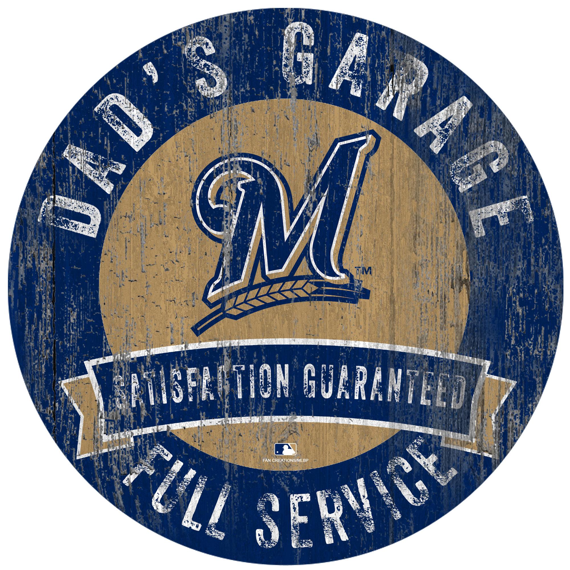 """Milwaukee Brewers 12"""" x 12"""" Dad's Garage Sign"""