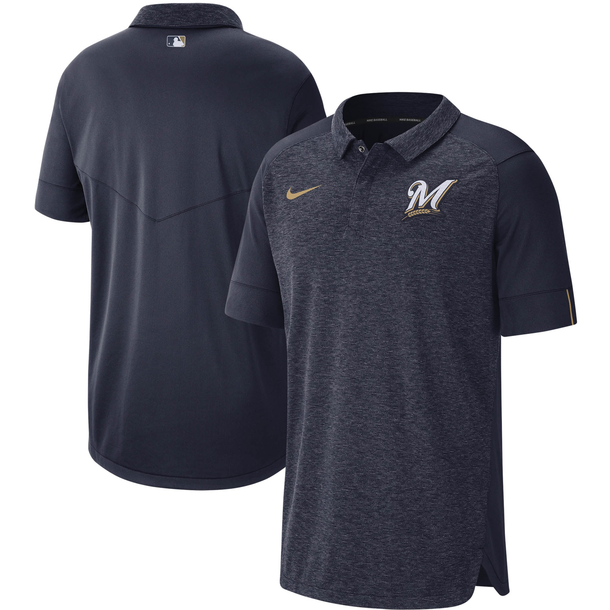 Milwaukee Brewers Nike Authentic Collection Team Logo Elite Performance Polo - Navy