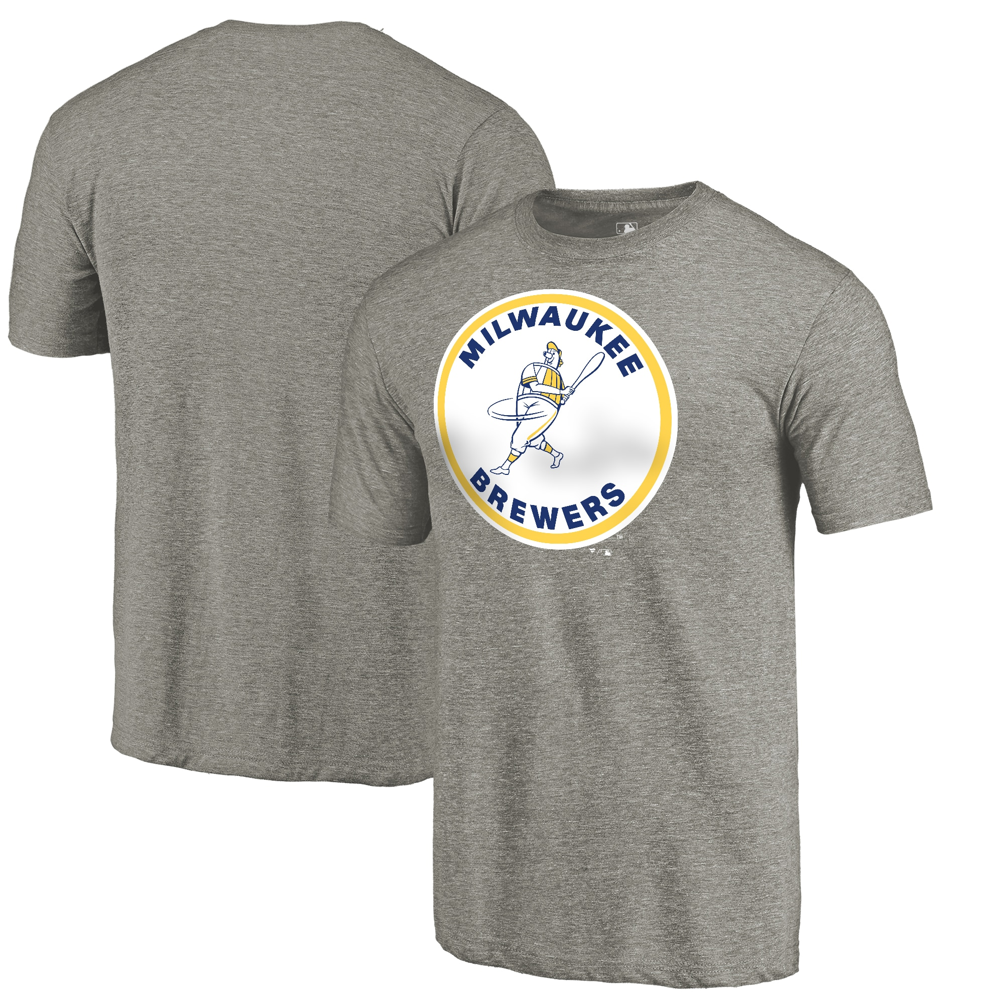 Milwaukee Brewers Fanatics Branded Cooperstown Collection Forbes Tri-Blend T-Shirt - Ash