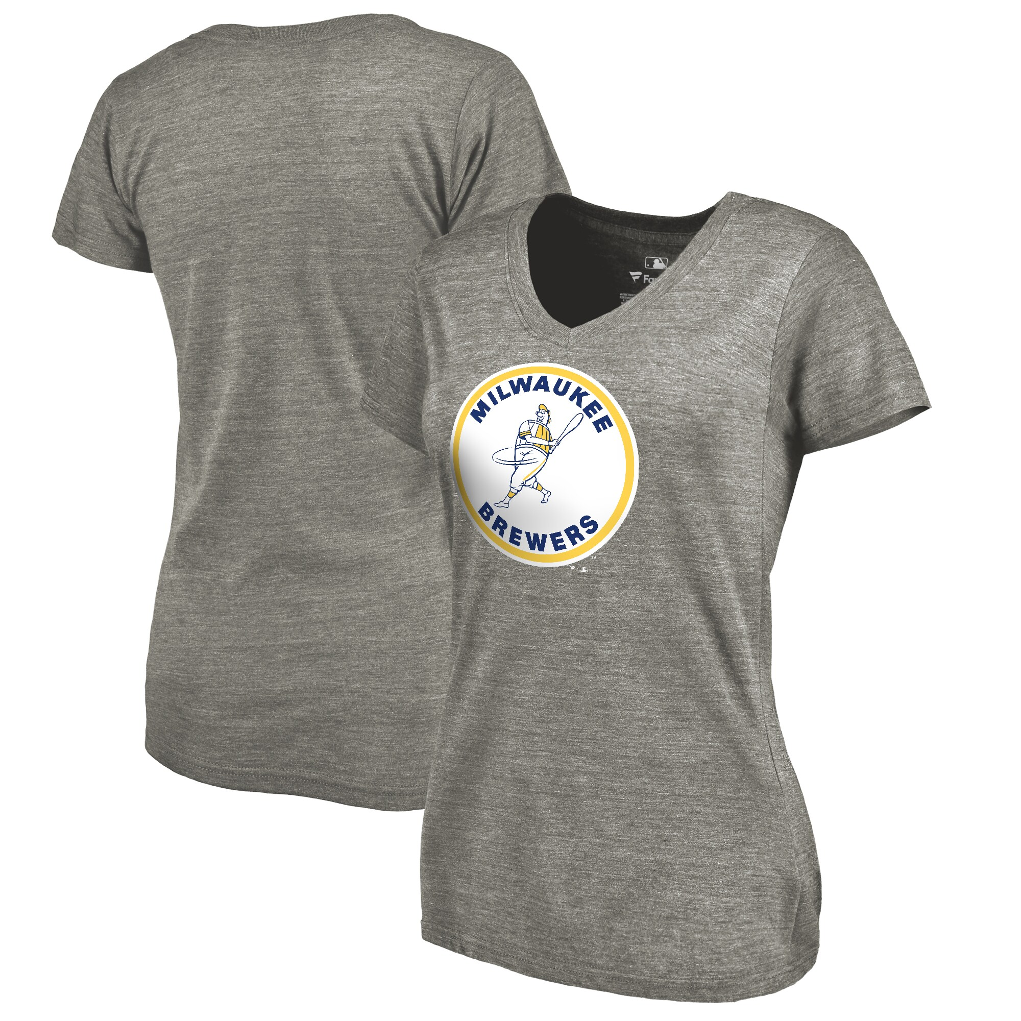 Milwaukee Brewers Fanatics Branded Women's Cooperstown Collection Forbes Tri-Blend V-Neck T-Shirt - Ash