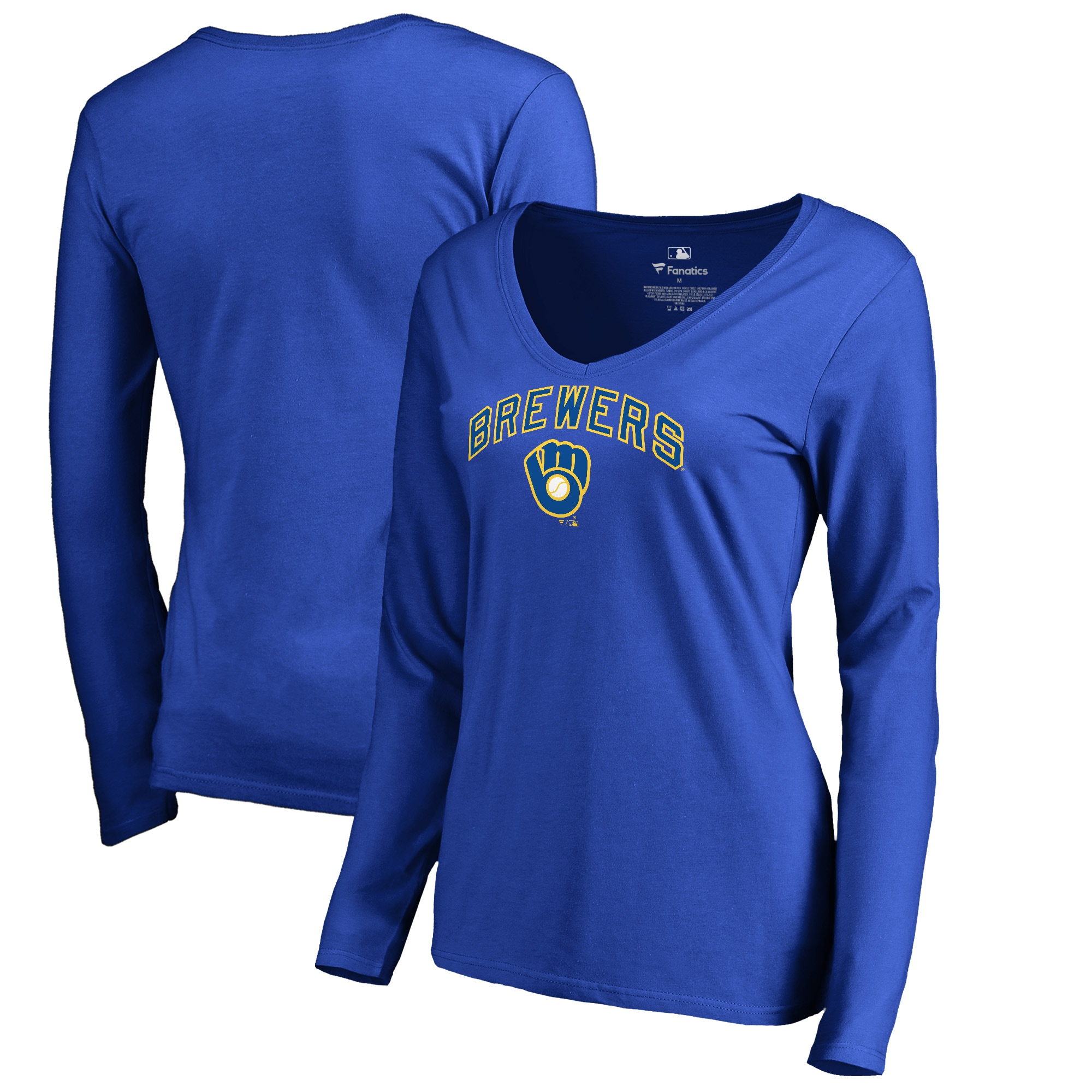 Milwaukee Brewers Fanatics Branded Women's Cooperstown Collection Wahconah Long Sleeve V-Neck T-Shirt - Royal