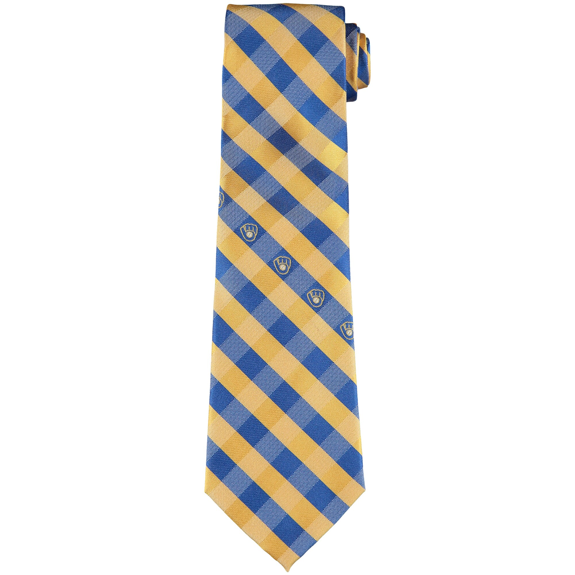 Milwaukee Brewers Woven Checkered Tie