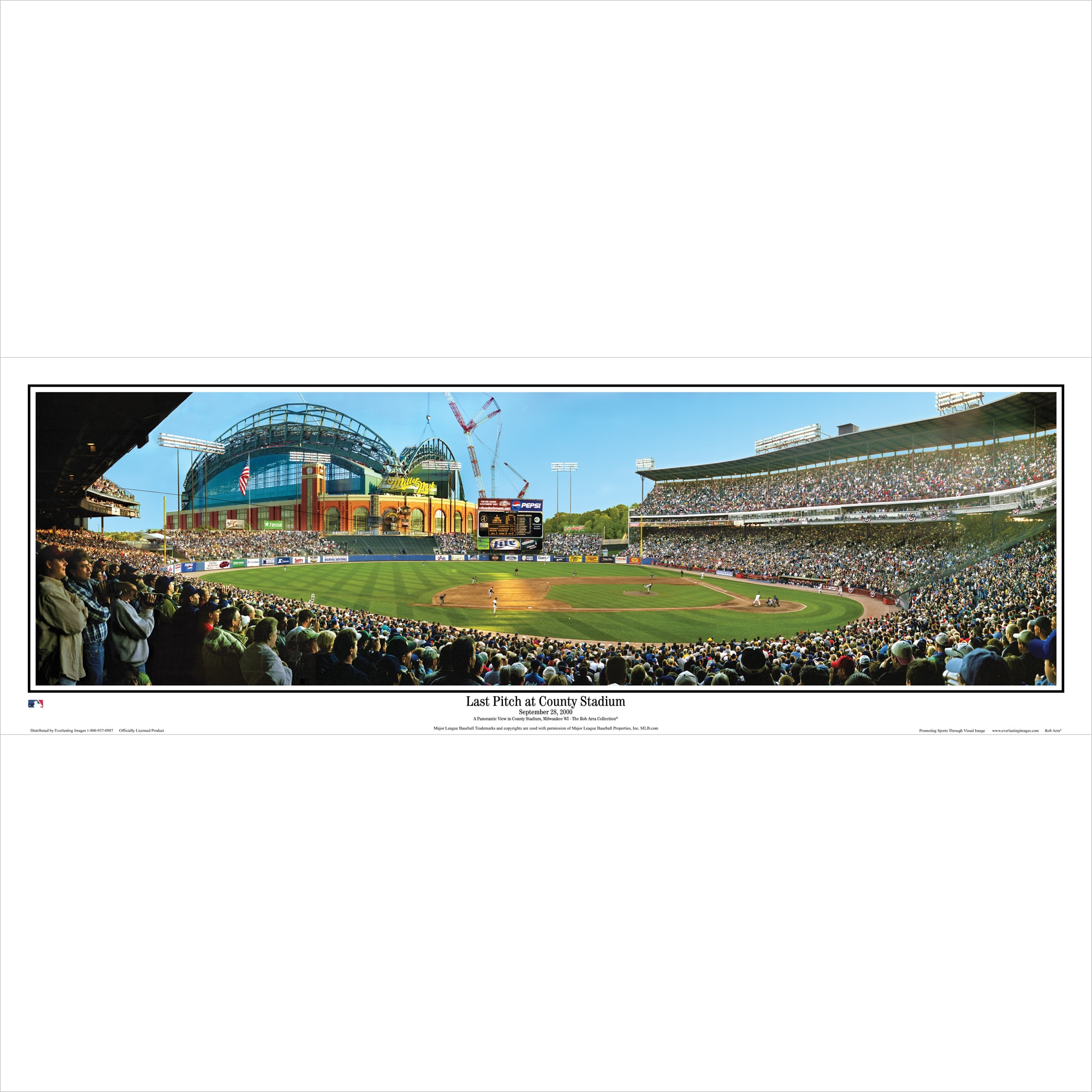 """Milwaukee Brewers 39"""" x 13.5"""" Last Pitch at County Stadium Standard Black Framed Panoramic"""