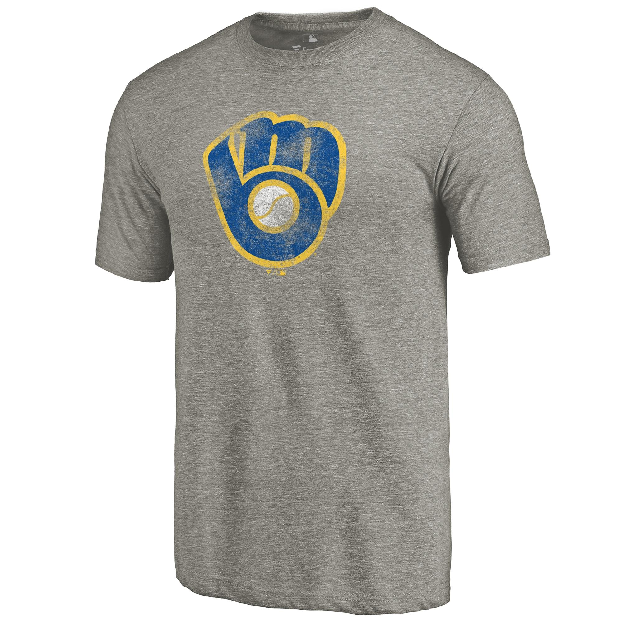 Milwaukee Brewers Distressed Team Tri-Blend T-Shirt - Ash