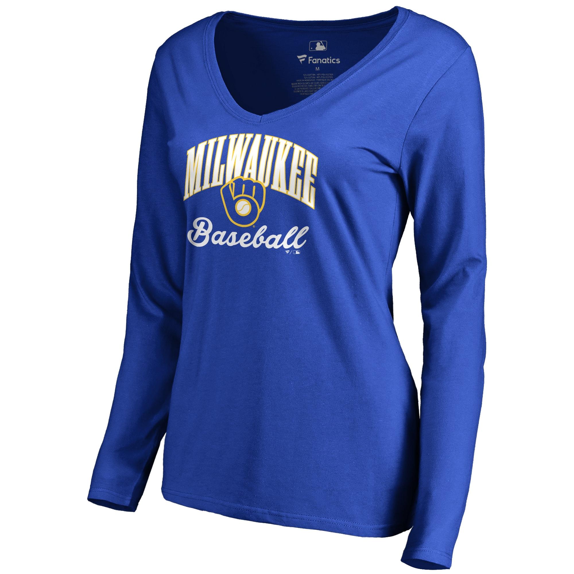 Milwaukee Brewers Women's Victory Script Long Sleeve T-Shirt - Royal