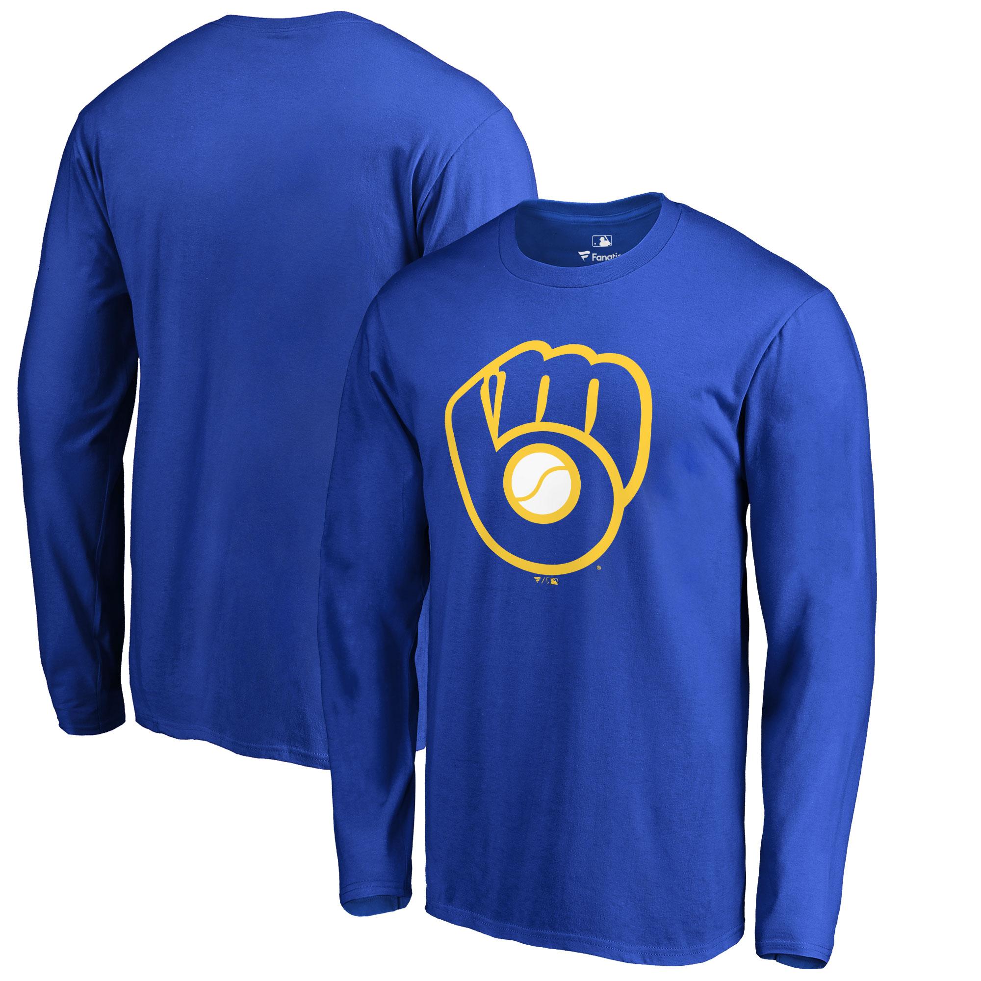Milwaukee Brewers Big & Tall Primary Team Logo Long Sleeve T-Shirt - Royal