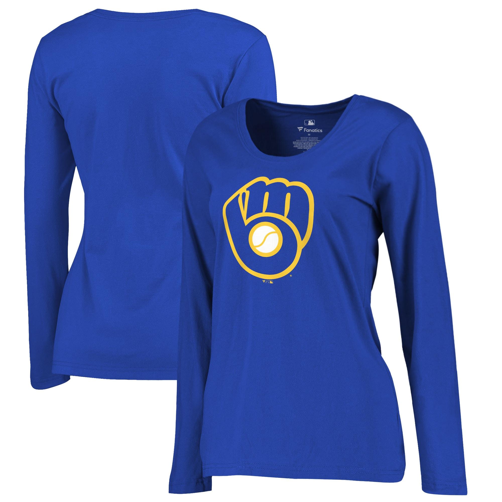 Milwaukee Brewers Women's Plus Sizes Primary Team Logo Long Sleeve T-Shirt - Royal