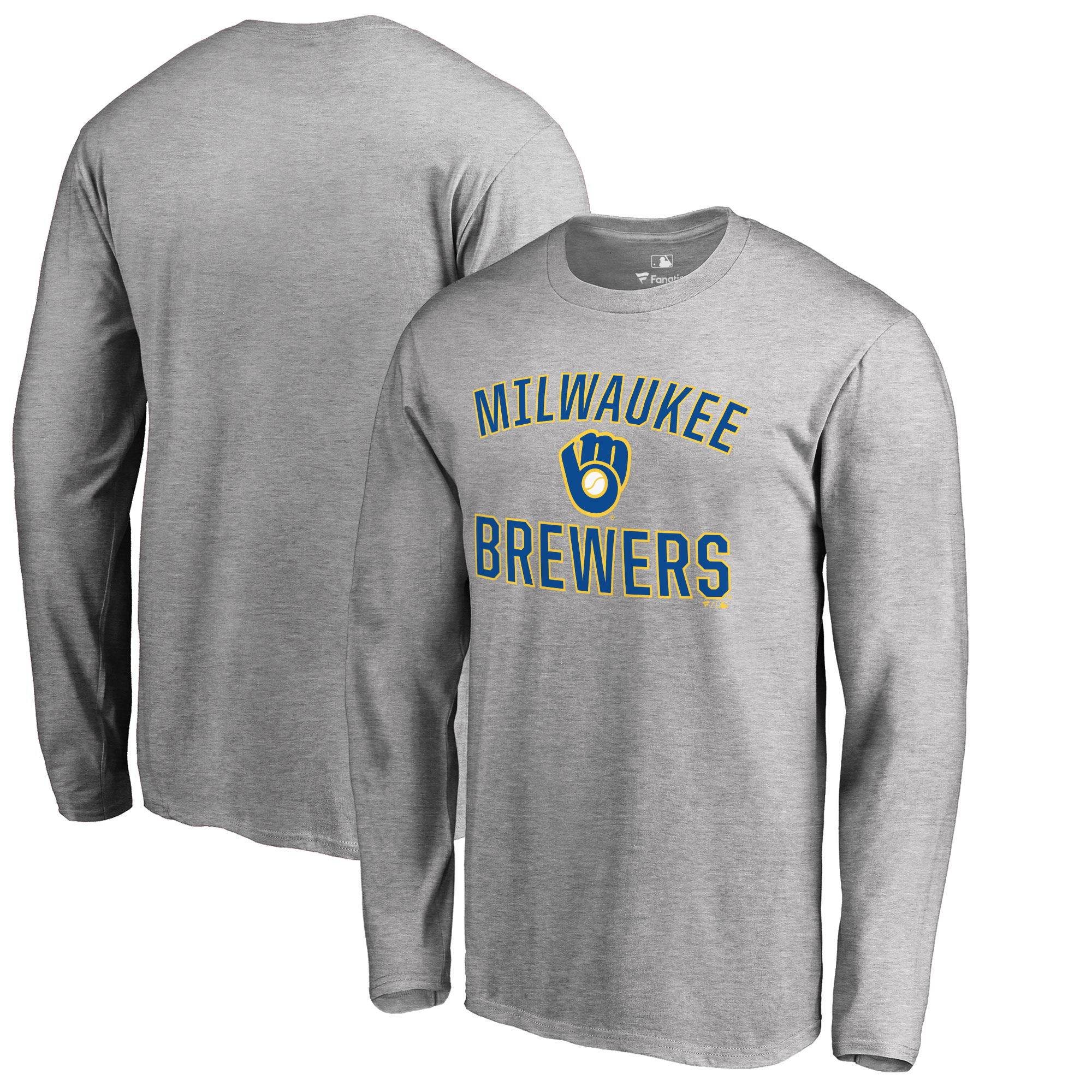 Milwaukee Brewers Big & Tall Victory Arch Long Sleeve T-Shirt - Ash