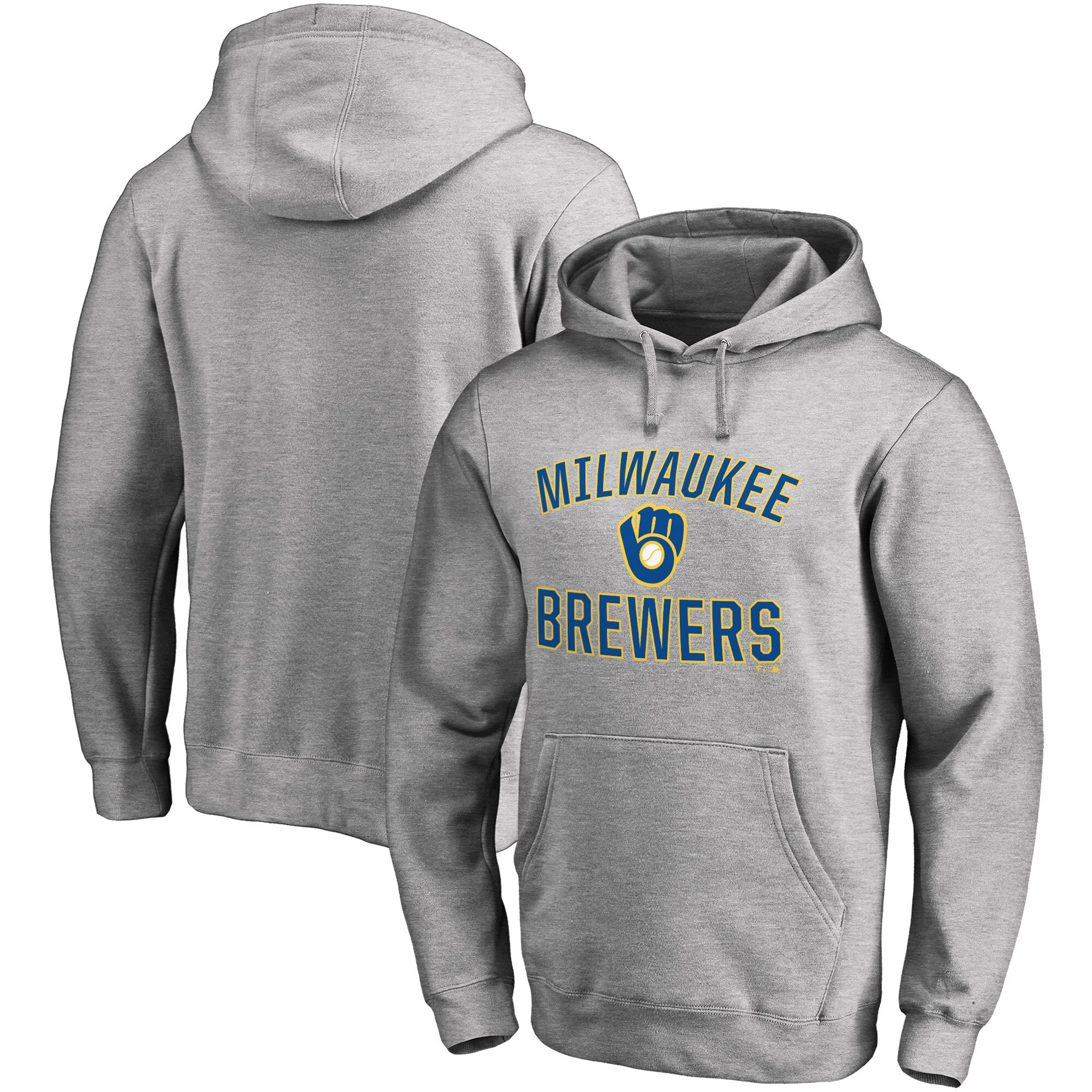 Milwaukee Brewers Fanatics Branded Victory Arch Pullover Hoodie - Heathered Gray
