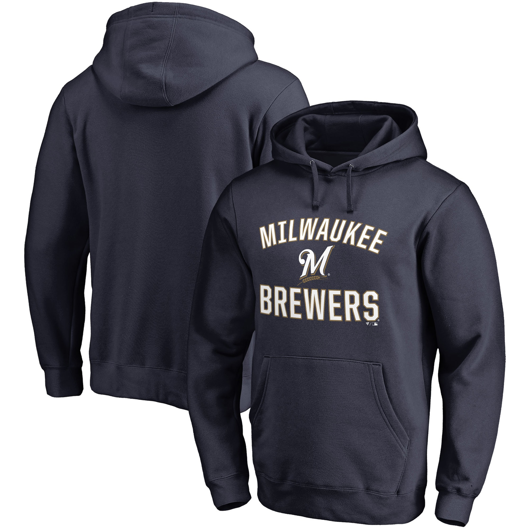 Milwaukee Brewers Fanatics Branded Victory Arch Pullover Hoodie - Navy