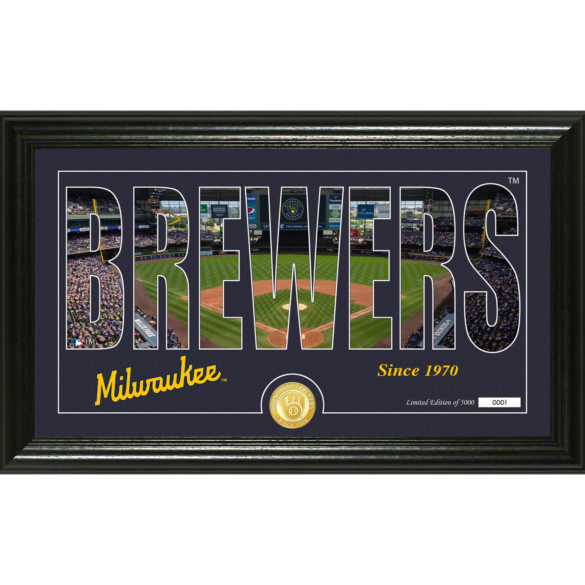 Milwaukee Brewers Highland Mint 12'' x 20'' Silhouette Panoramic Bronze Coin Photo Mint