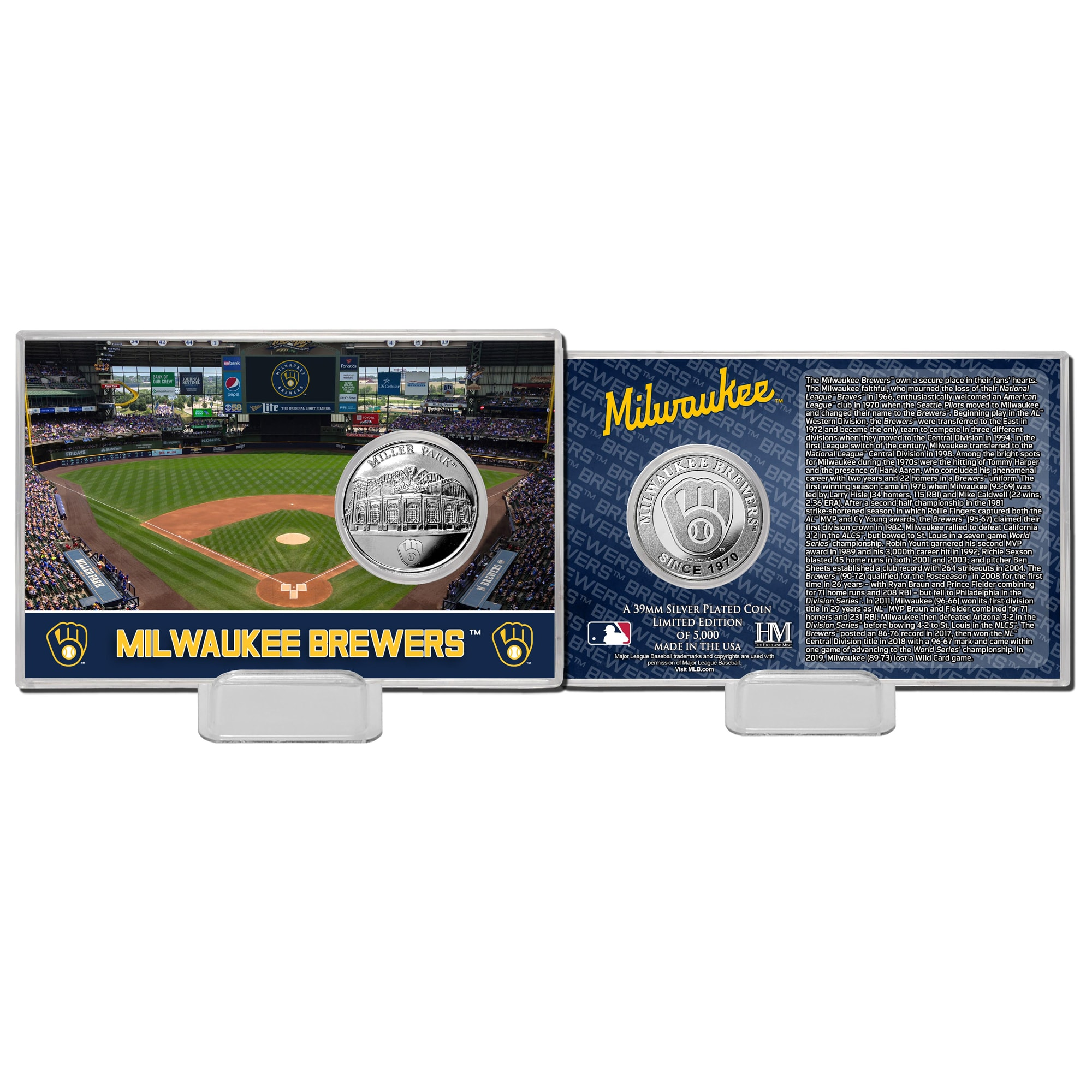 Milwaukee Brewers Highland Mint 4'' x 6'' Silver Coin Card