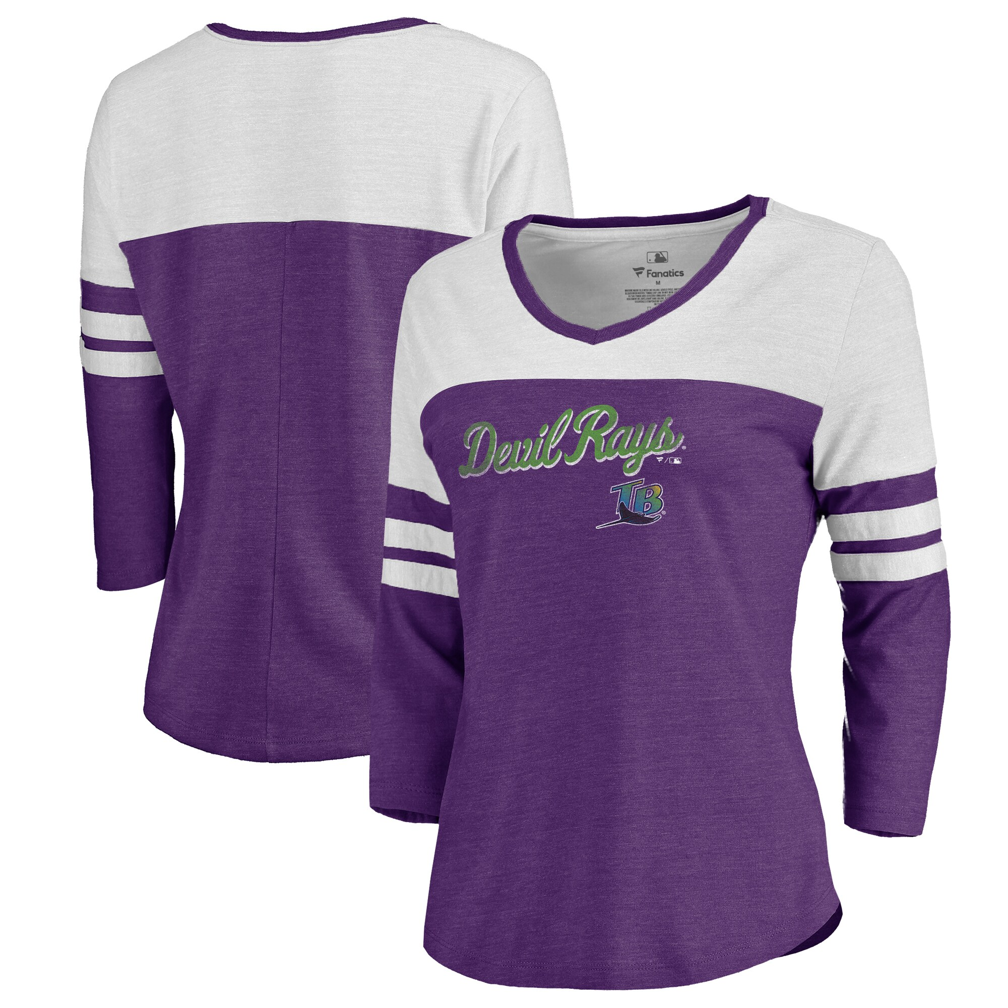 Fanatics Branded Tampa Bay Rays Women's Purple Rising Script Color Block 3/4 Sleeve Tri-Blend T-Shirt