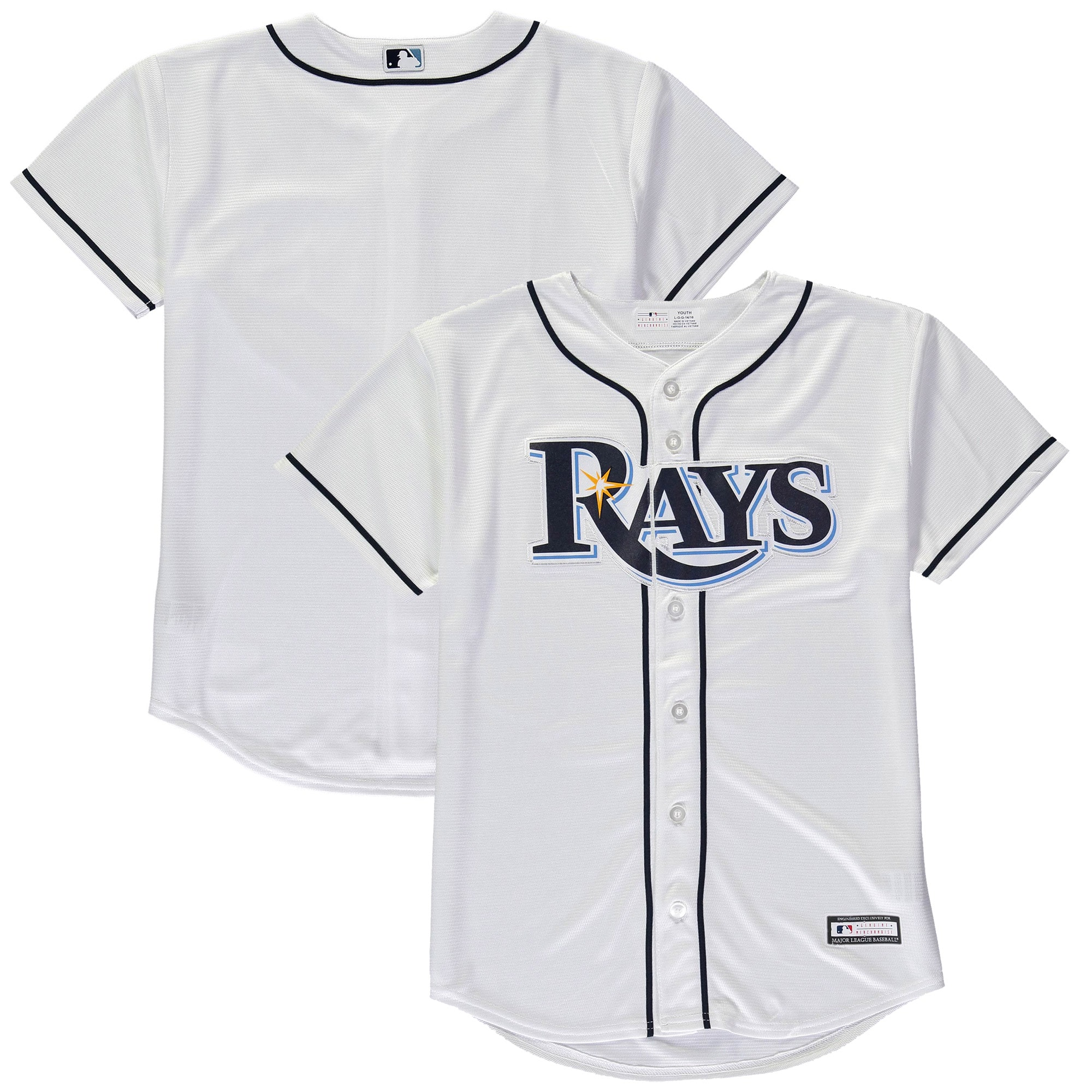 Tampa Bay Rays Youth Home Replica Blank Team Jersey - White