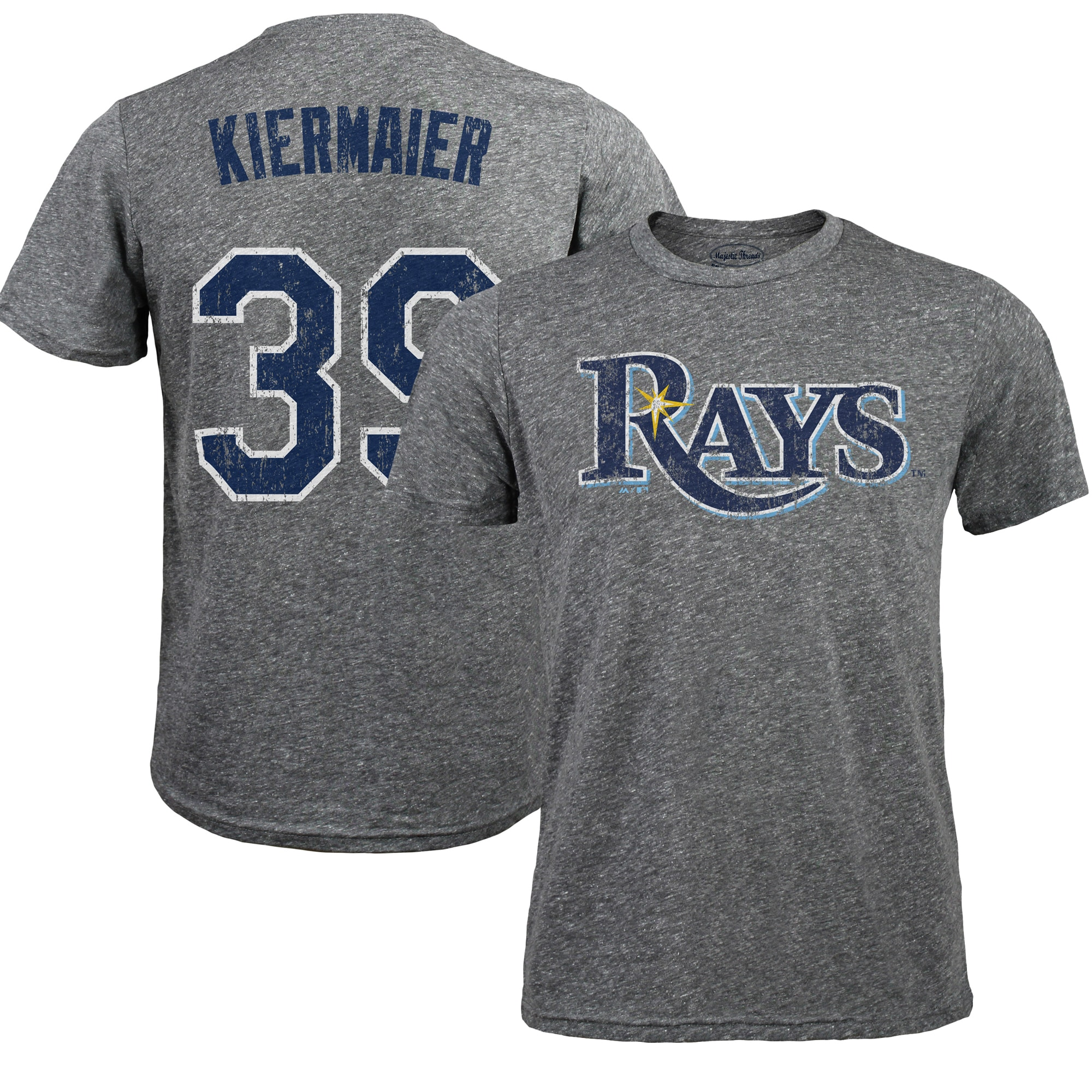 Kevin Kiermaier Tampa Bay Rays Majestic Threads Premium Tri-Blend Name & Number T-Shirt - Gray