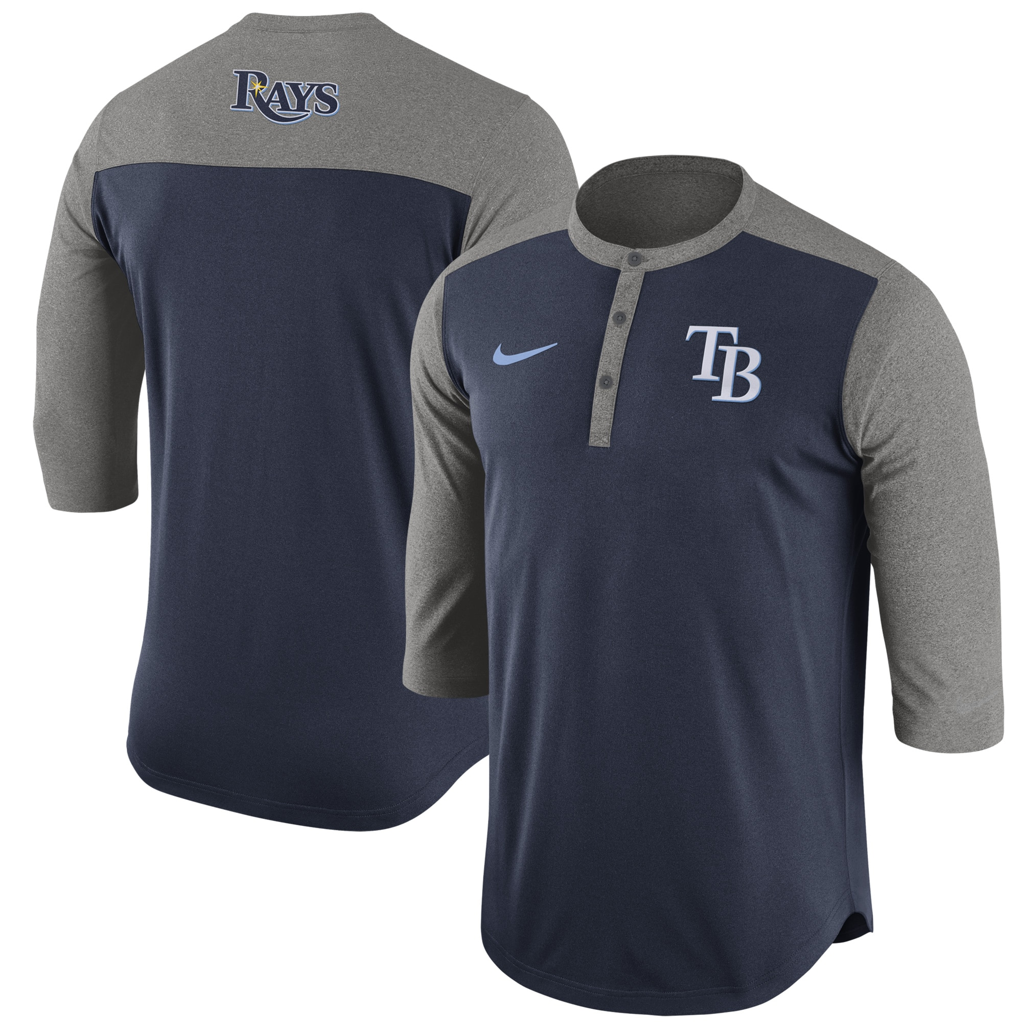 Tampa Bay Rays Nike Dry Henley 3/4-Sleeve Performance T-Shirt - Navy