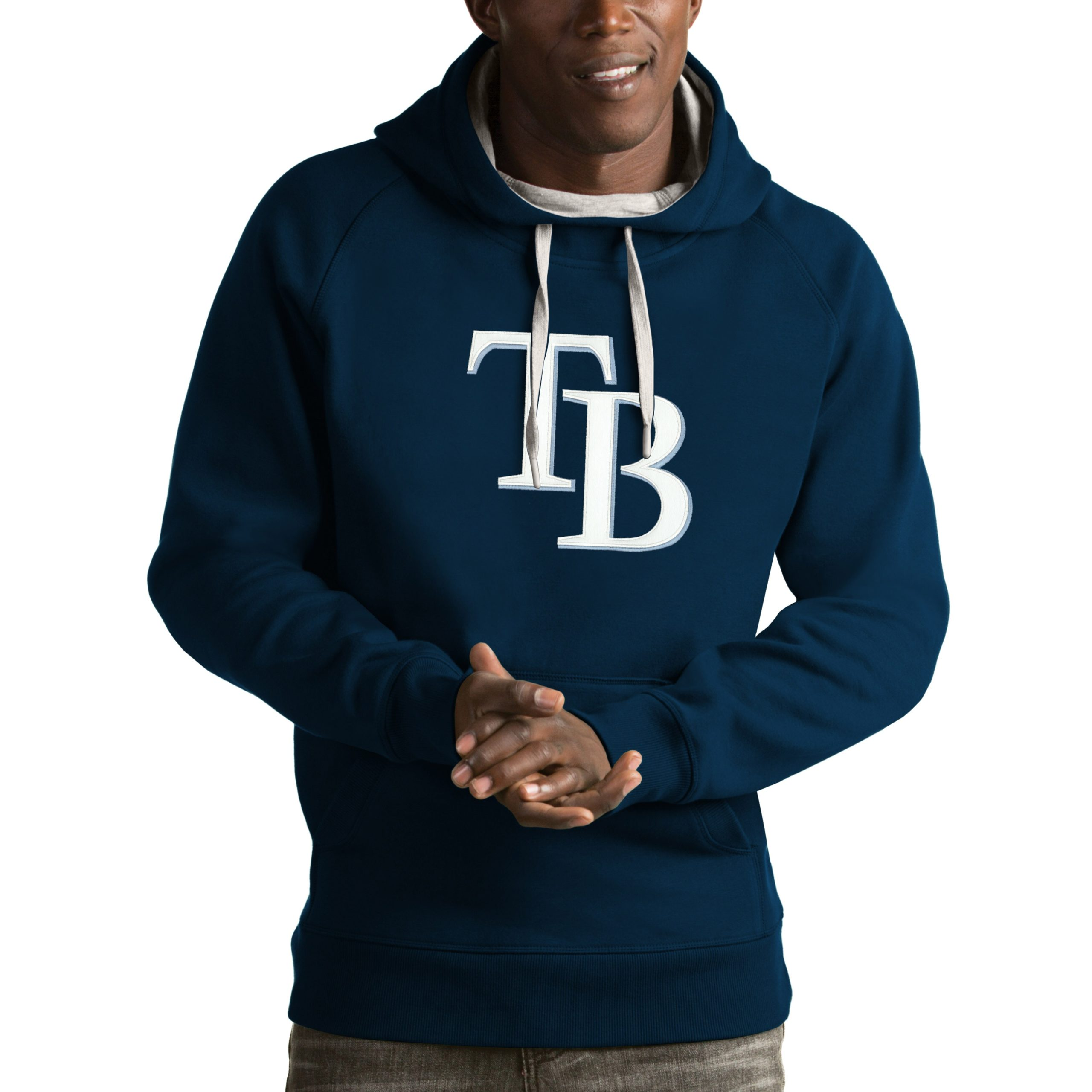 Tampa Bay Rays Antigua Victory Pullover Hoodie - Navy